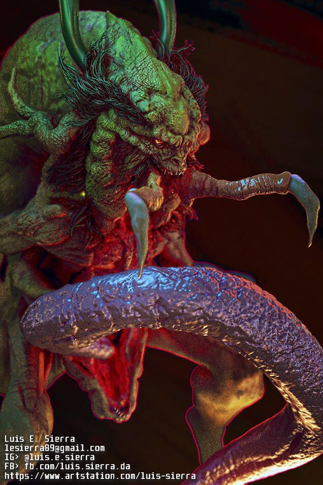 Result from Rafa Grassetti's Creature Modeling Workshop, I picked up an old design and worked on it for it