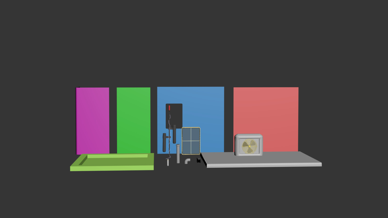 Modular breakdown of bunker. Wiring, etc were created using a spline bp in Unreal rather than using the 3d s models for more control. In the end I merged the walls in ue4  to have seamless vertex painting between the modules.