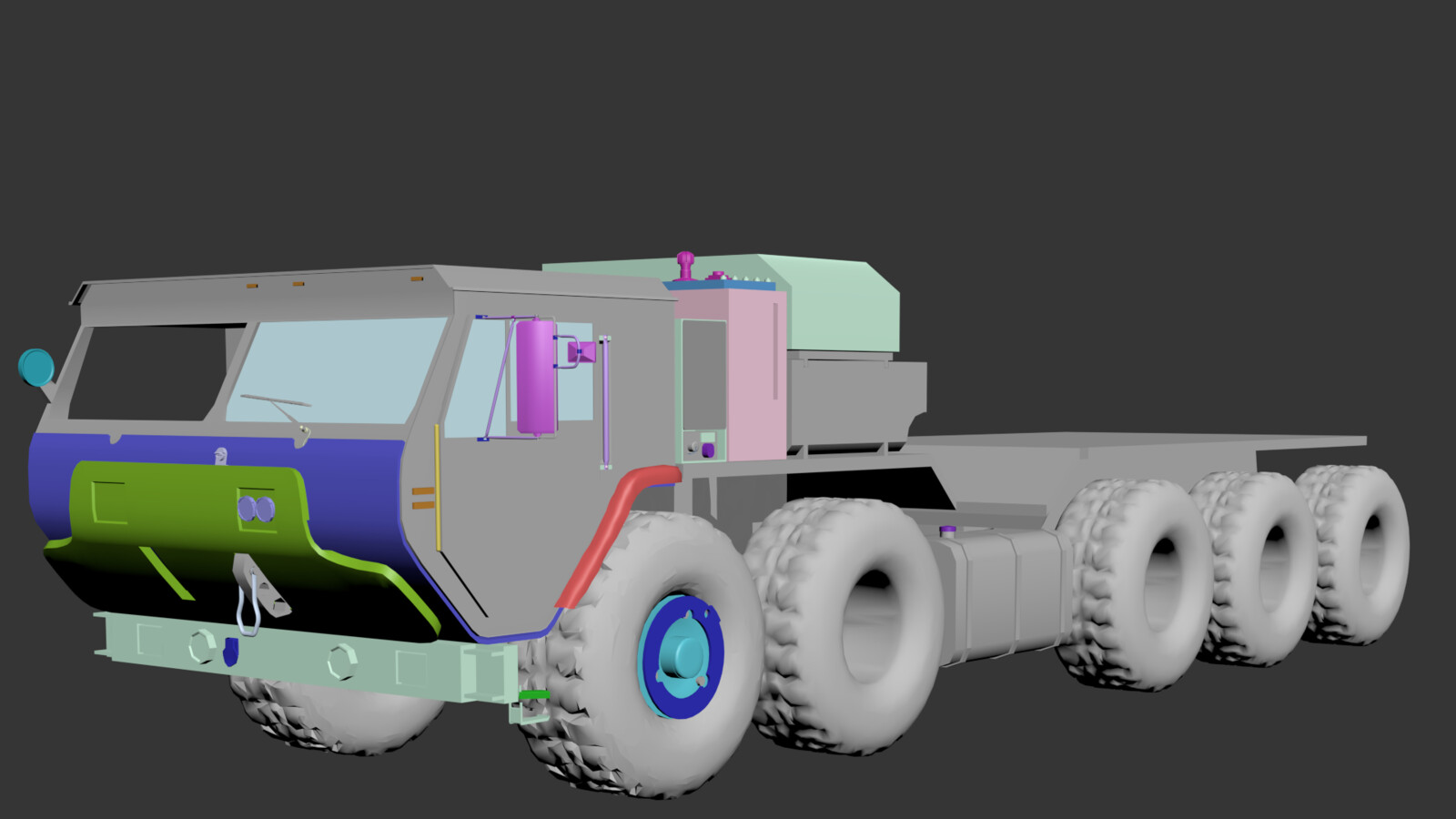 Truck prop modeled but finally left out!