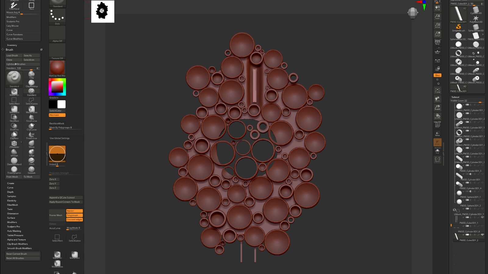 Central structure modeled in Zbrush using dynamesh and IMM brushes I created from the repeated patterns.