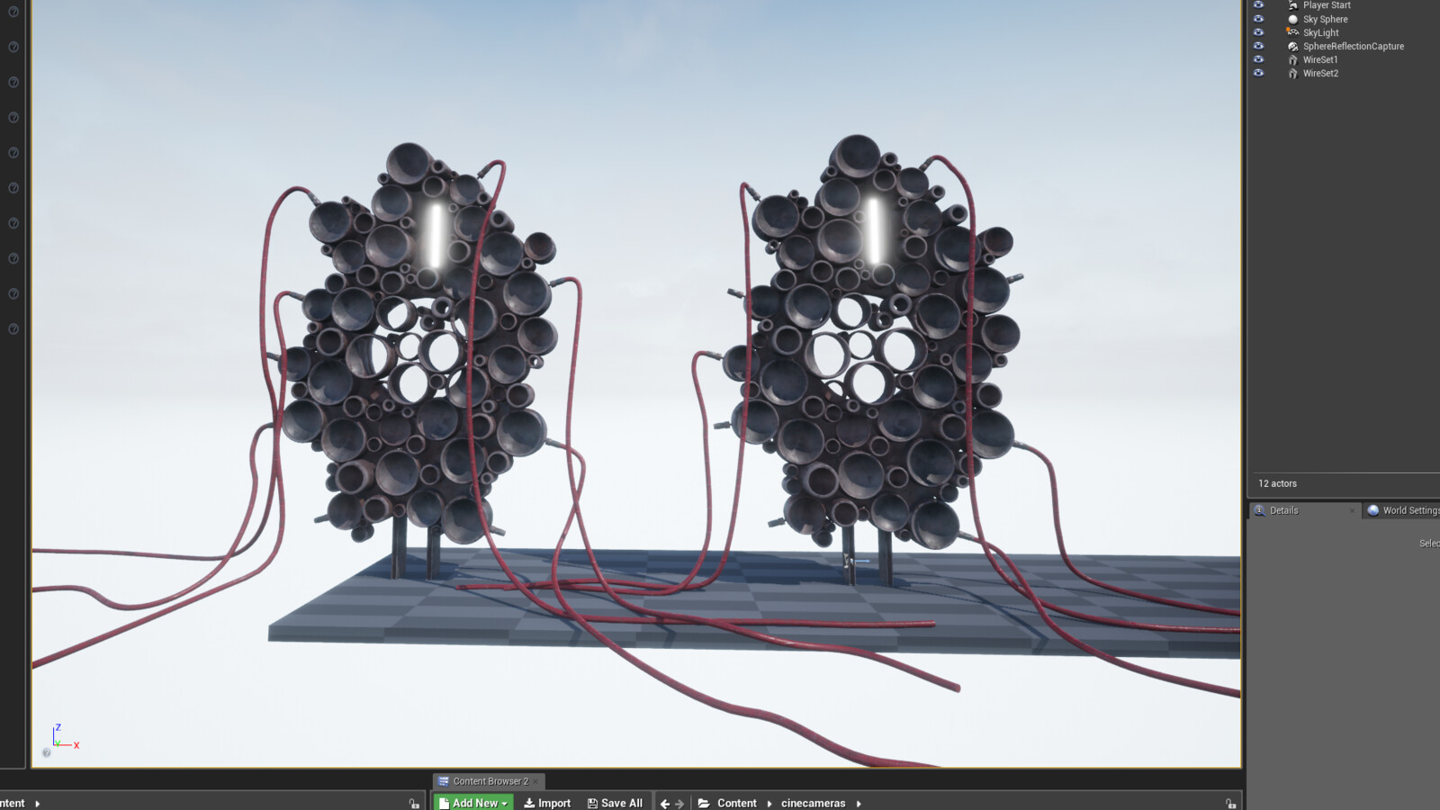 In engine testing. I thought I'd use the cable actor in ue4 at first but it proved to difficult to attach at specific angles so I opted for 3d geometry instead for these wires.