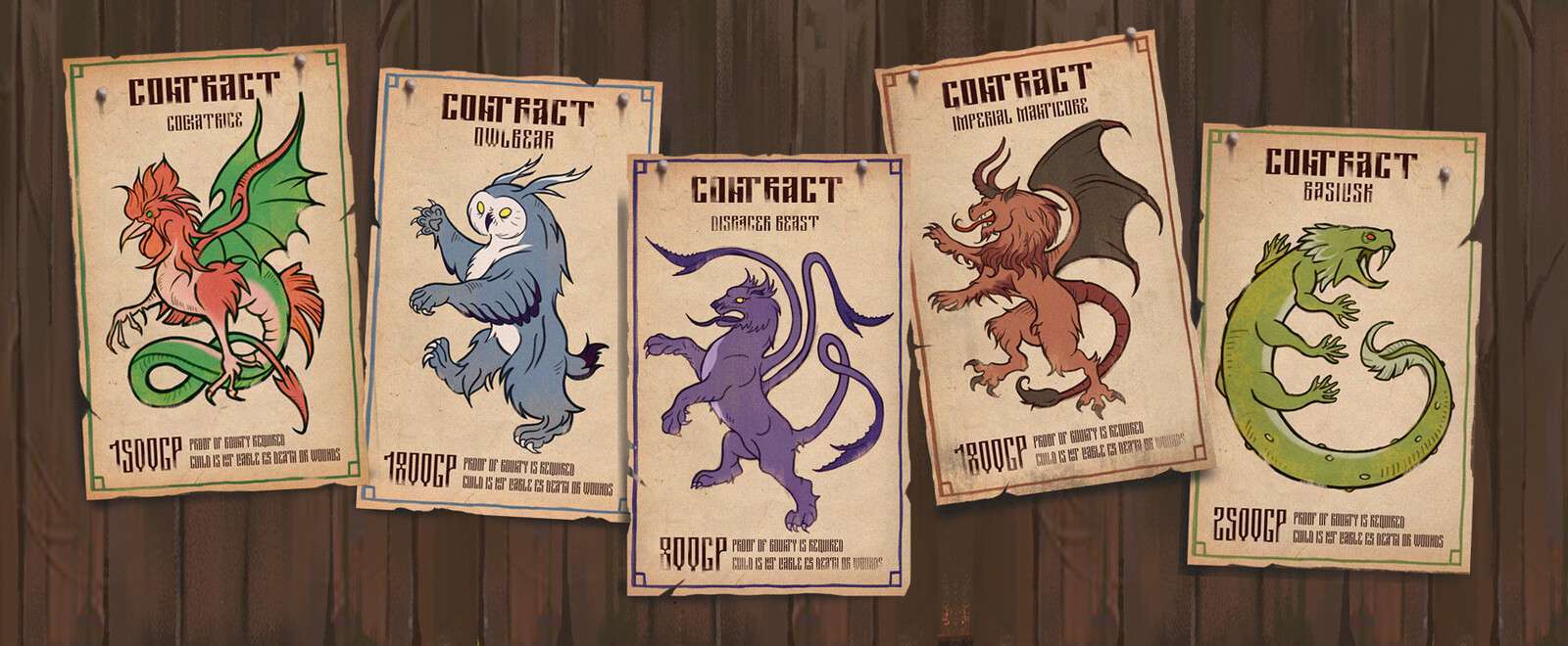 A few of the custom poster designs showing different creature contracts.