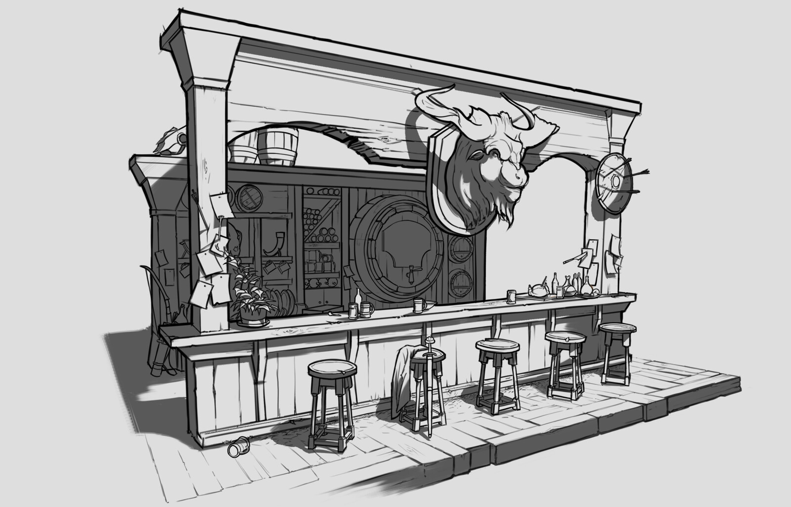 The initial sketch block out of the bar area.