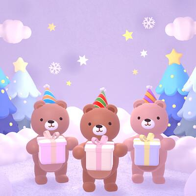 Judy kao artstation cute merry christmas bears 1127ss