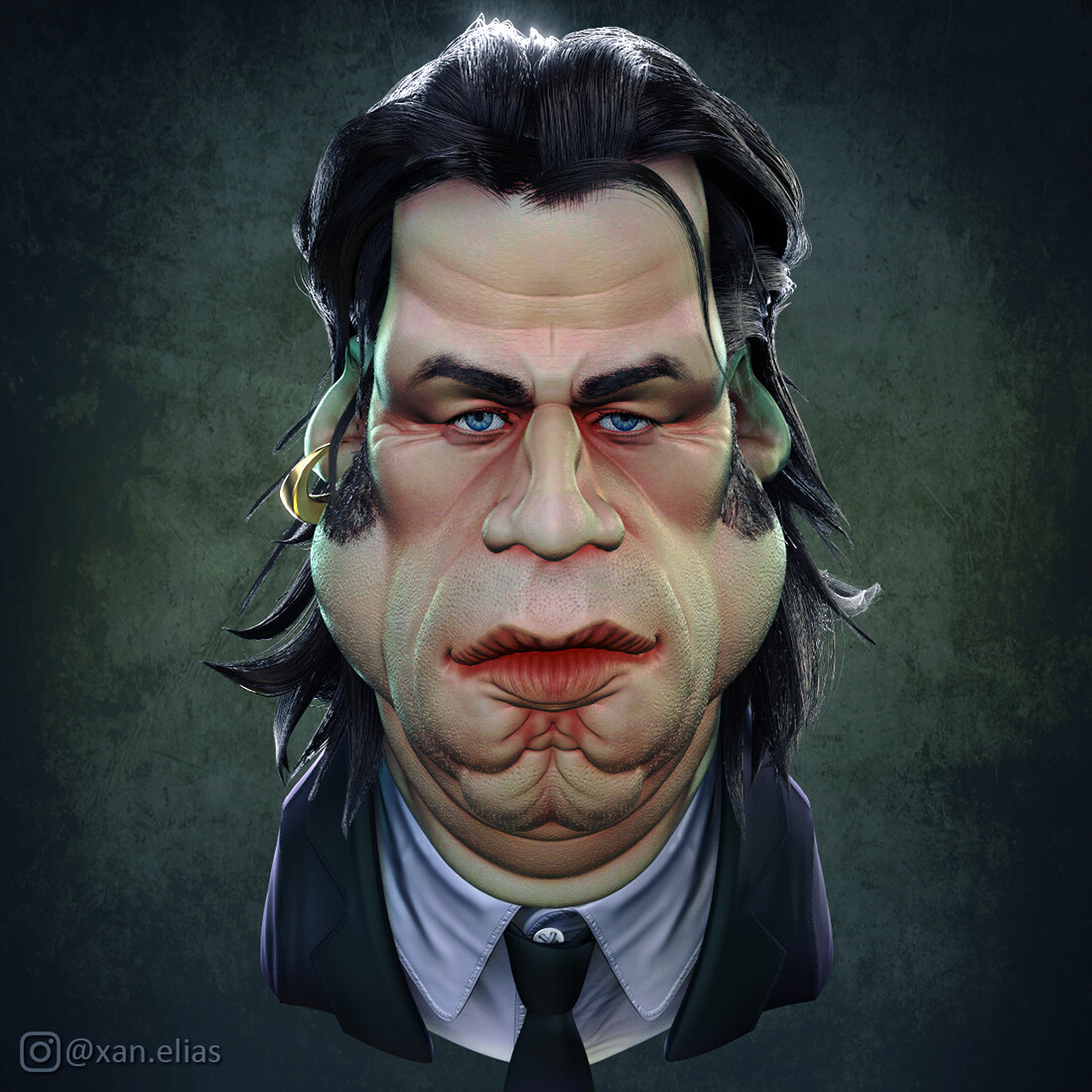 John Travolta Pulp Fiction 3D caricature