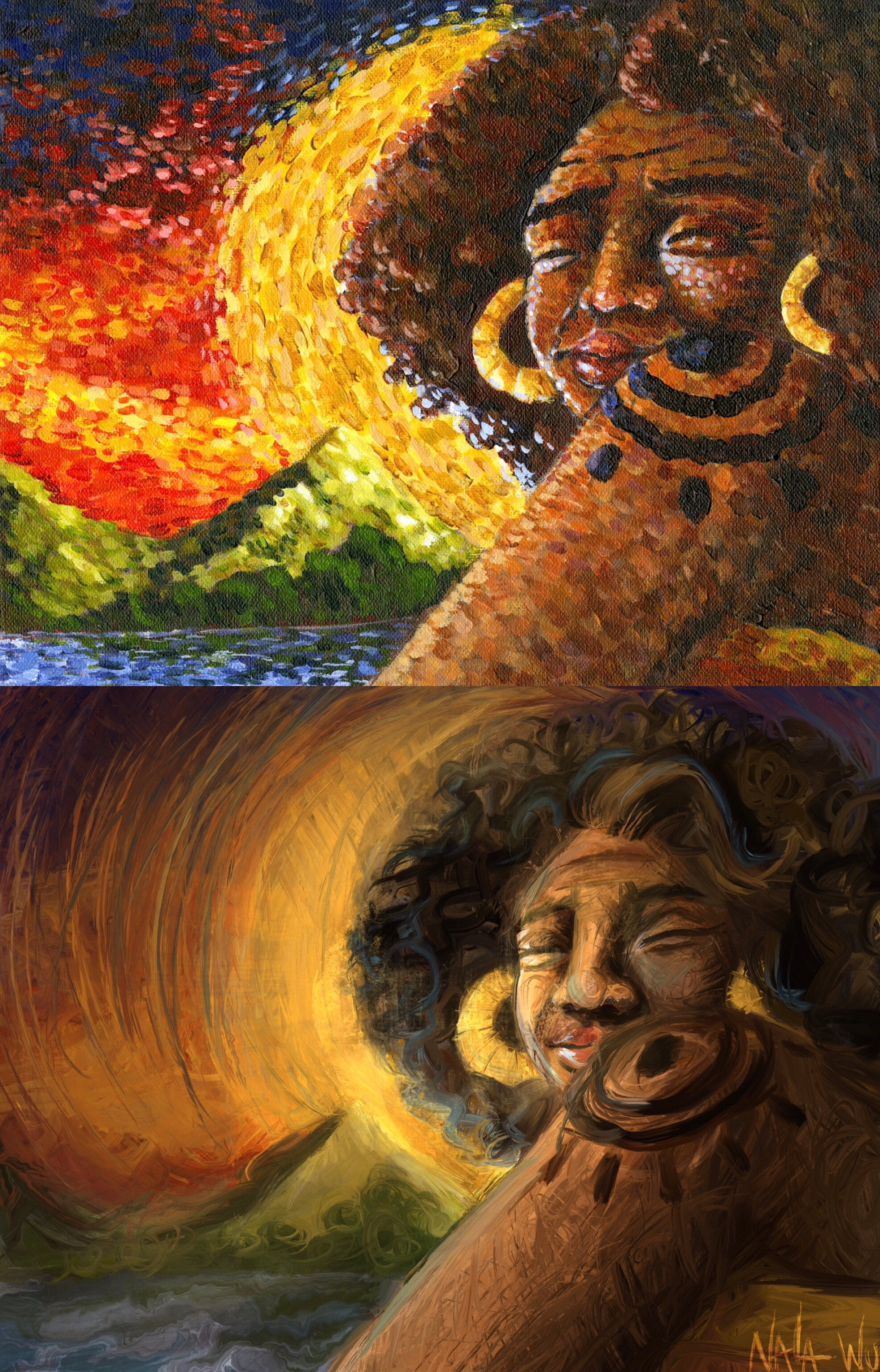 Top: the original acrylic painting Bottom: the digital redraw  The time difference between these two is about 1 month.