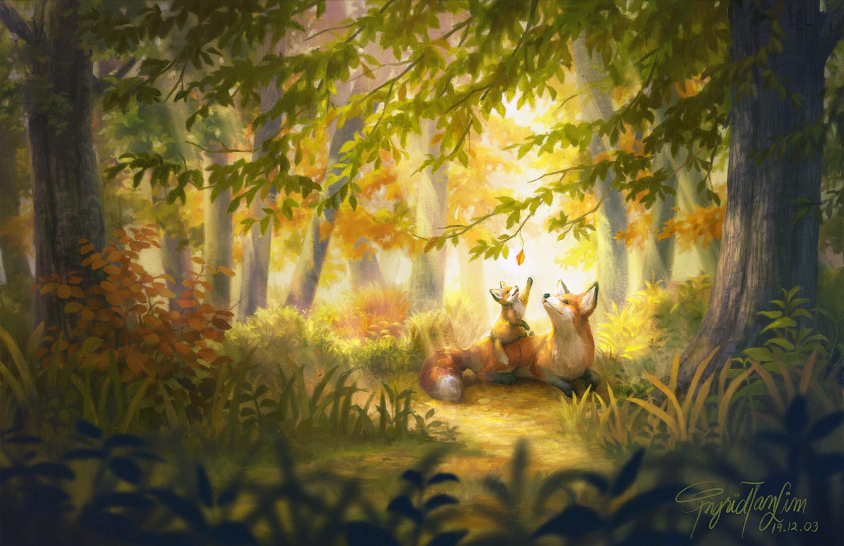 это картинка лиса и кролик в лесу еду
