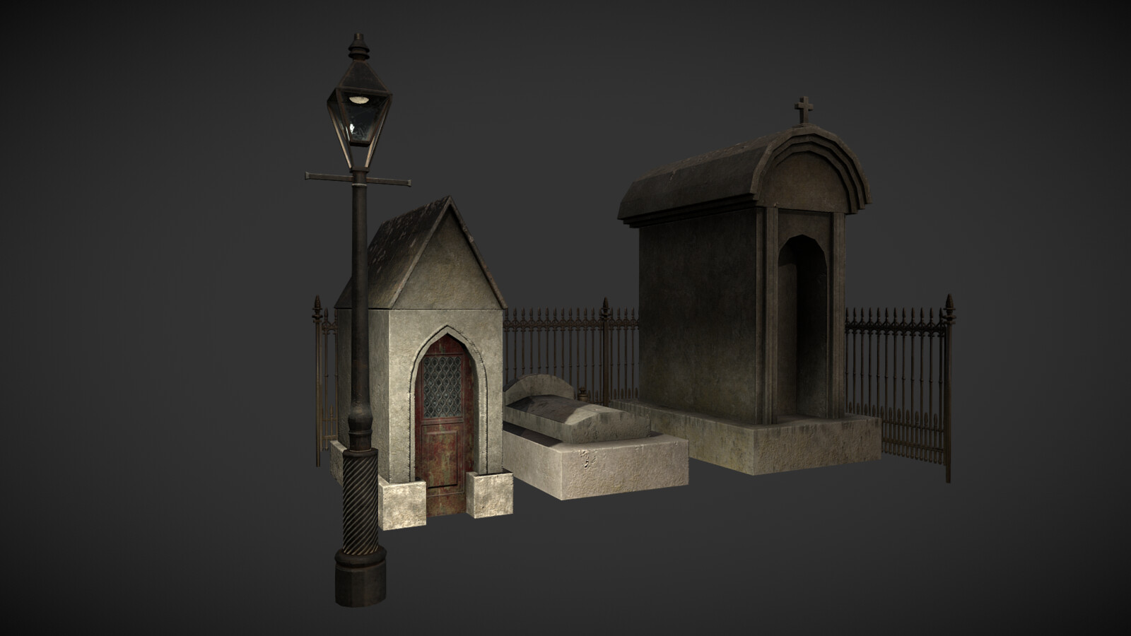 Low poly Cemetery game asset pack