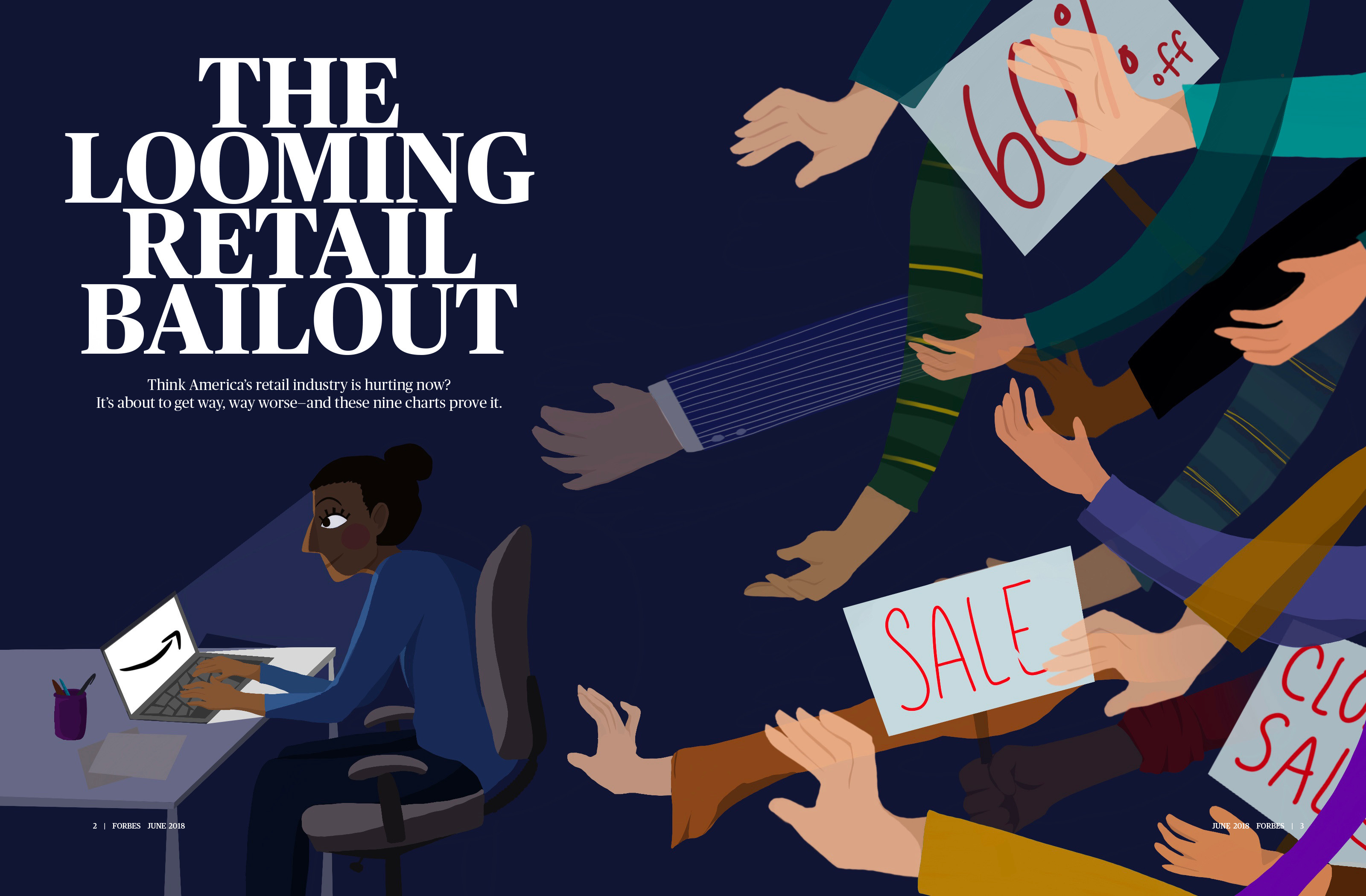 """Editorial cover spread for an article entitled """"The Looming Retail Bailout"""" by George Anders"""