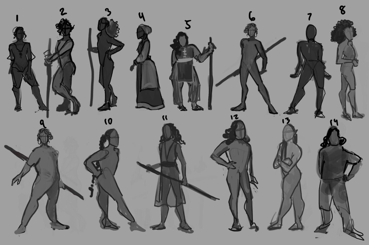 Process work - choosing a character silhouette!  I ended up going with 9 for the general attitude of the body's gesture.