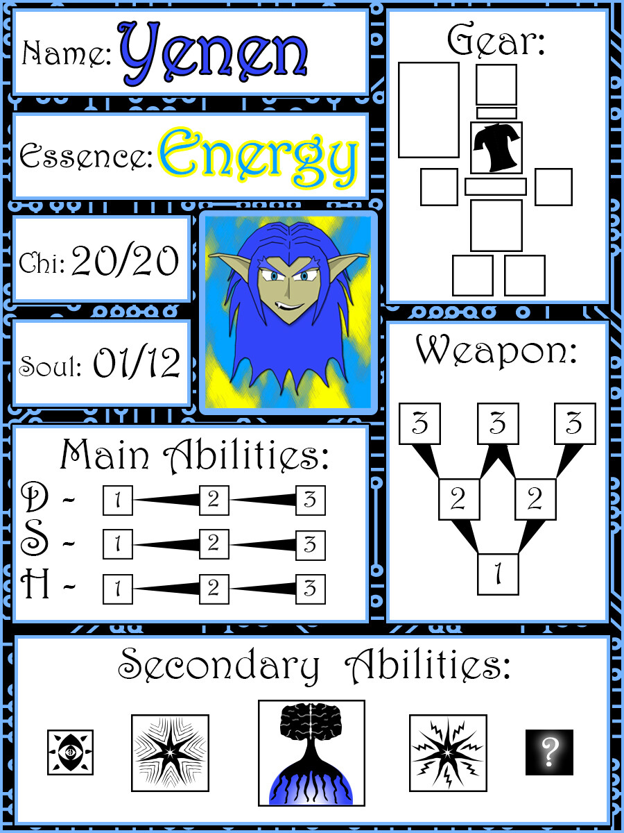Example of a used character card for Yenen