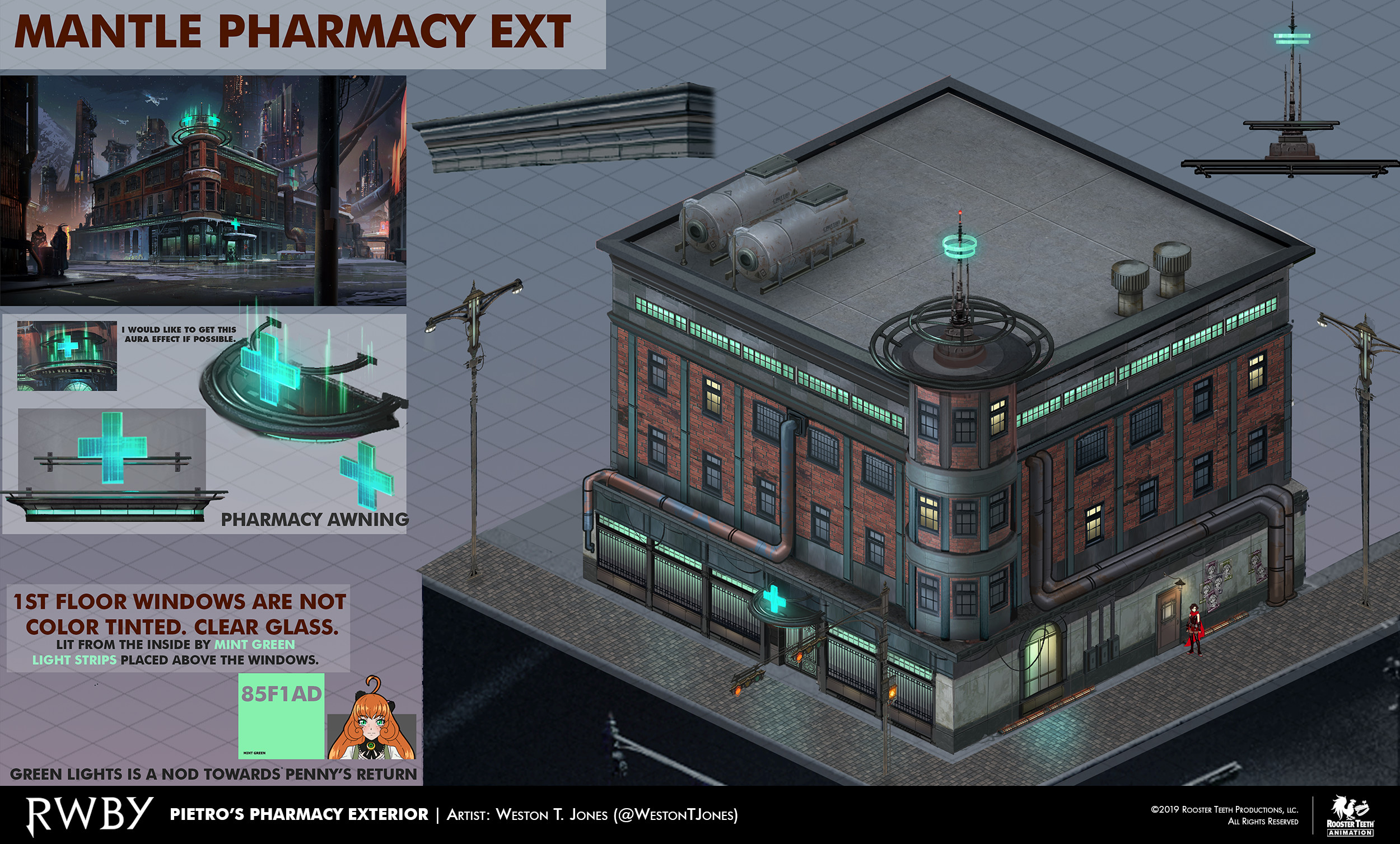Pietro's Pharmacy from Chapter One. This was used as a template for how to assemble a Mantle building.