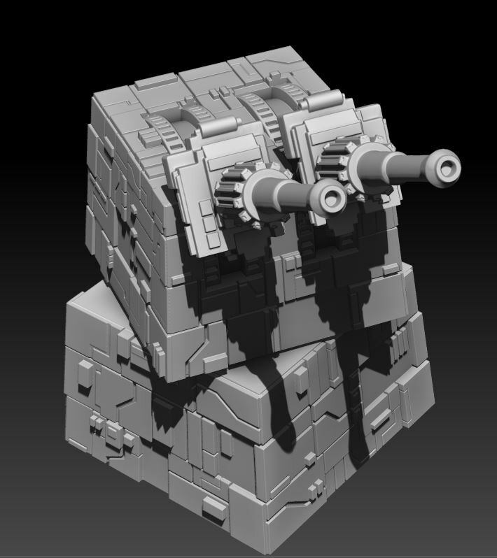This turbolaser turret was created to be a cast resin kit for use with the various Star Wars tabletop games that are in print right now, including X-Wing and Legion.