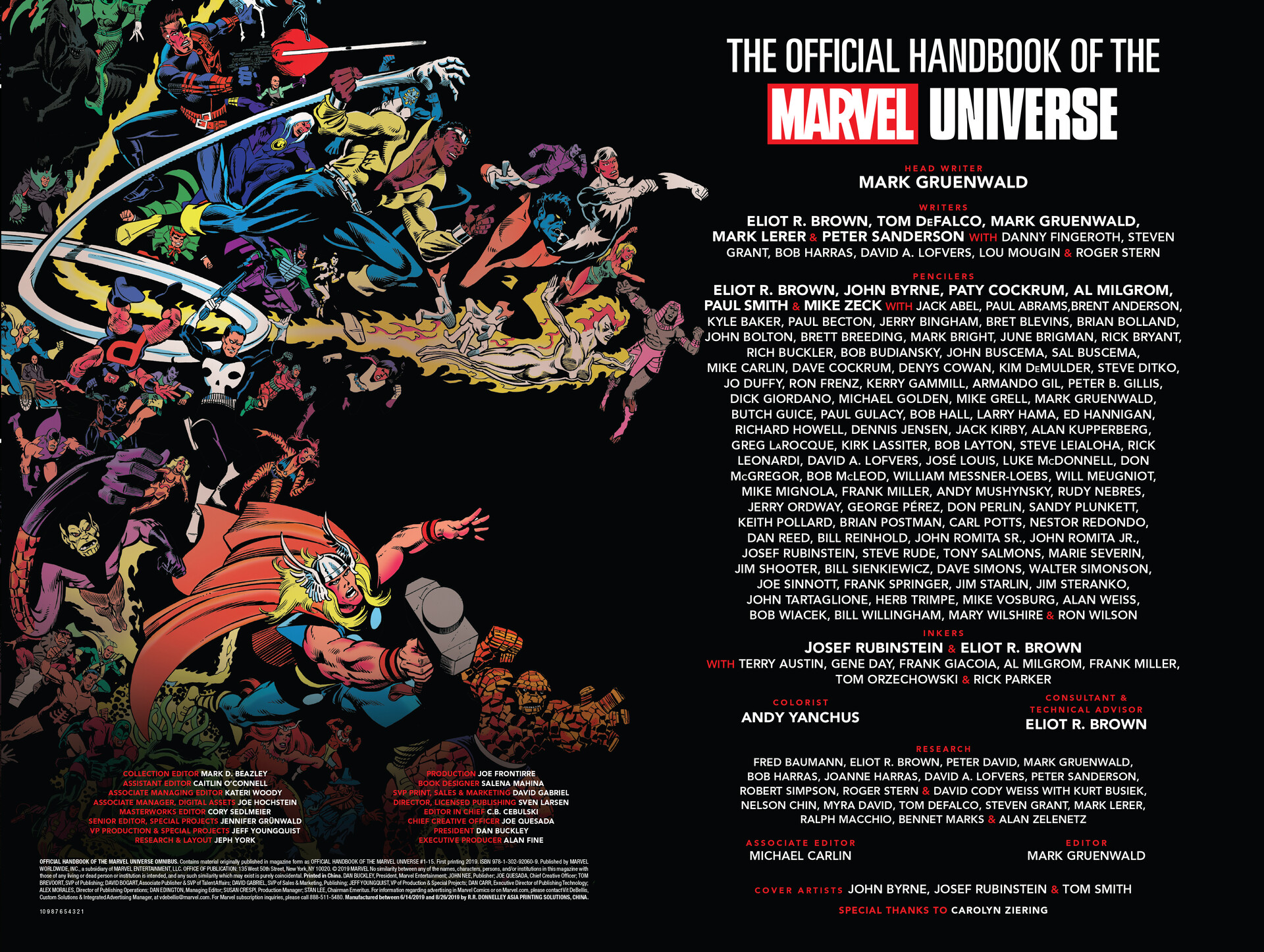 The Official Handbook of the Marvel Universe credits page design