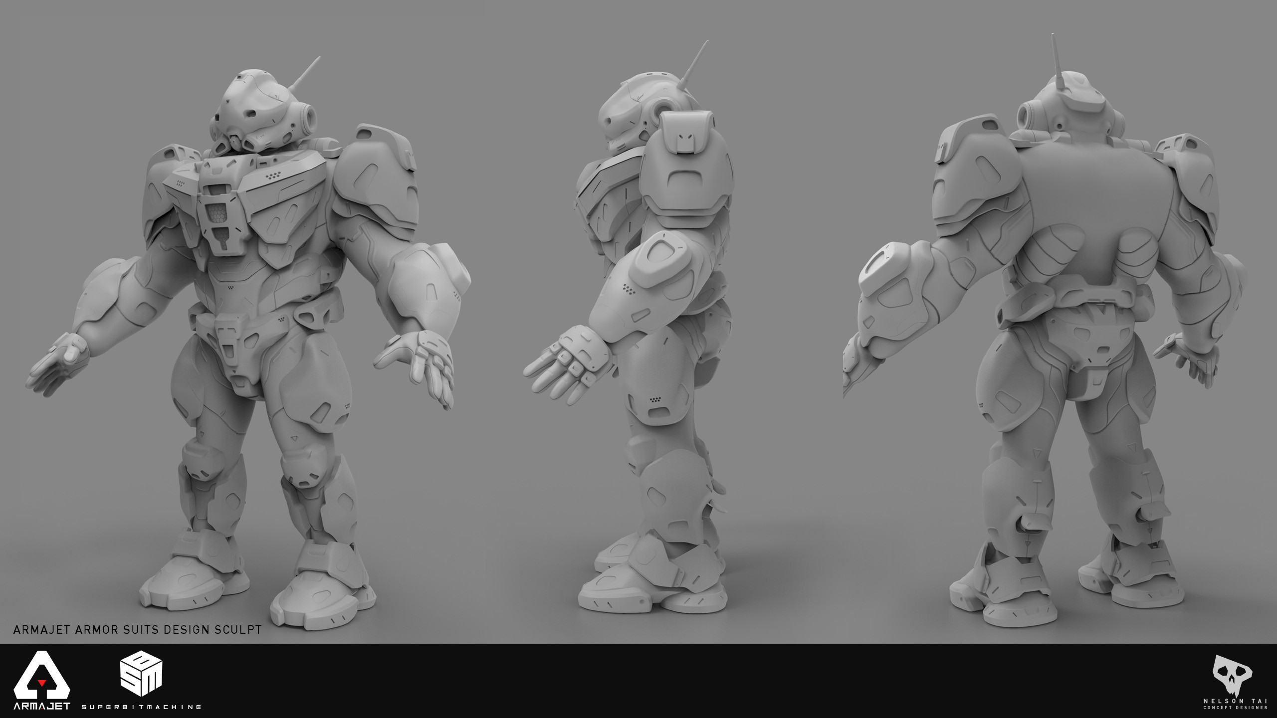Clay render of the concept sculpt.