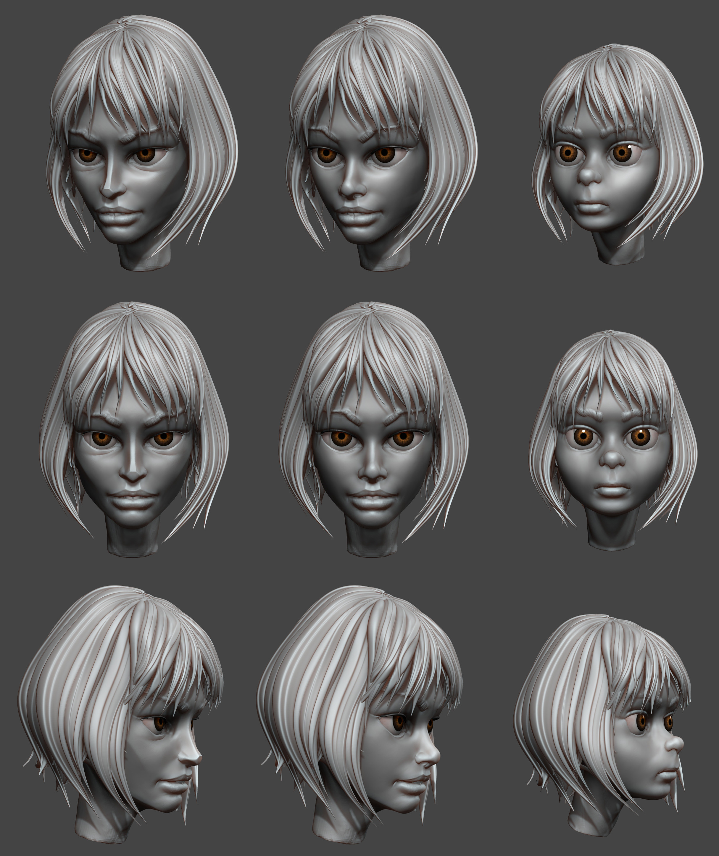 Various Mathilda studies, the middle one was the one I liked most, but I still had to change a little bit hair silhouette.