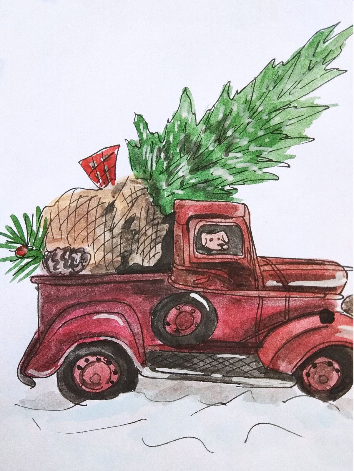 Artstation Red Vintage Truck With Christmas Tree Fortune Pluto