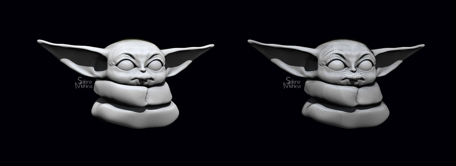 Baby Yoda Shaded and Wireframe on Shaded view (unlit)