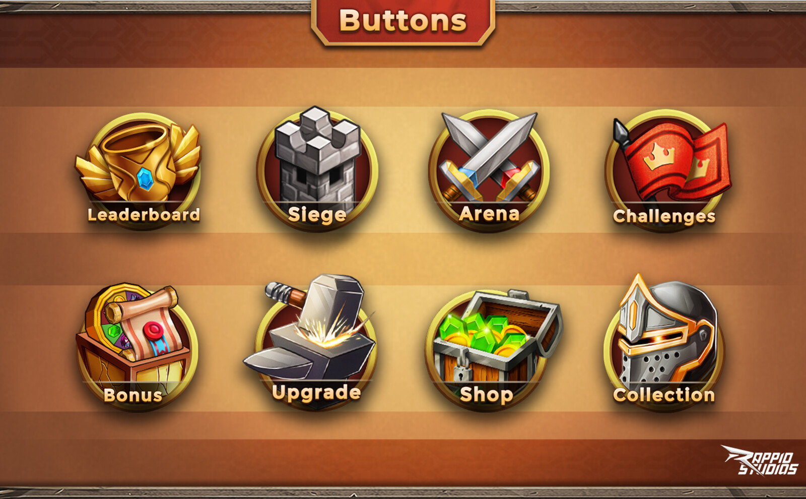 Various buttons used in the game