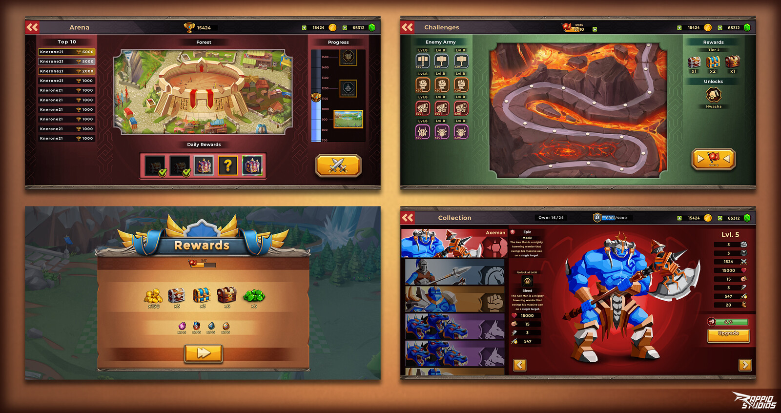 various screens UI and UX
