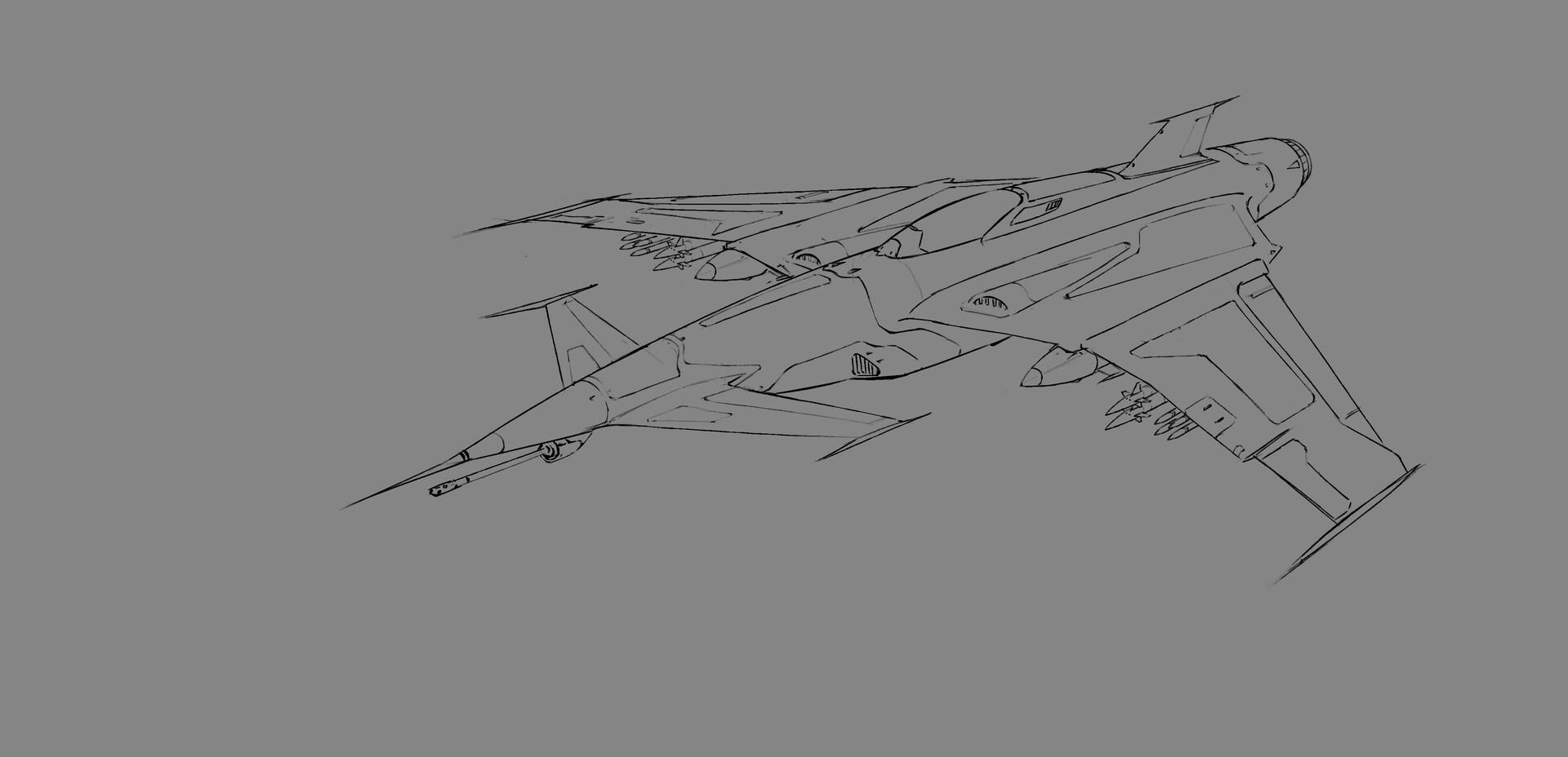 Jasza dobrzanski fighter jet sketch