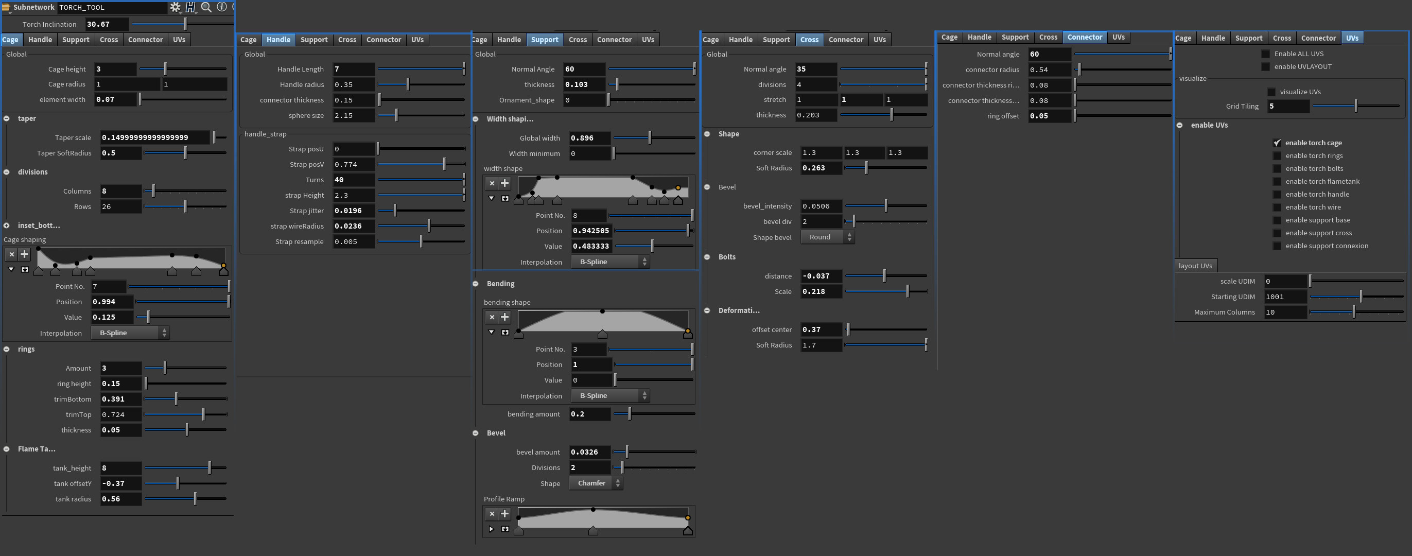 Final Houdini Tool, showing all the tabs. .Hip available on my store for free.