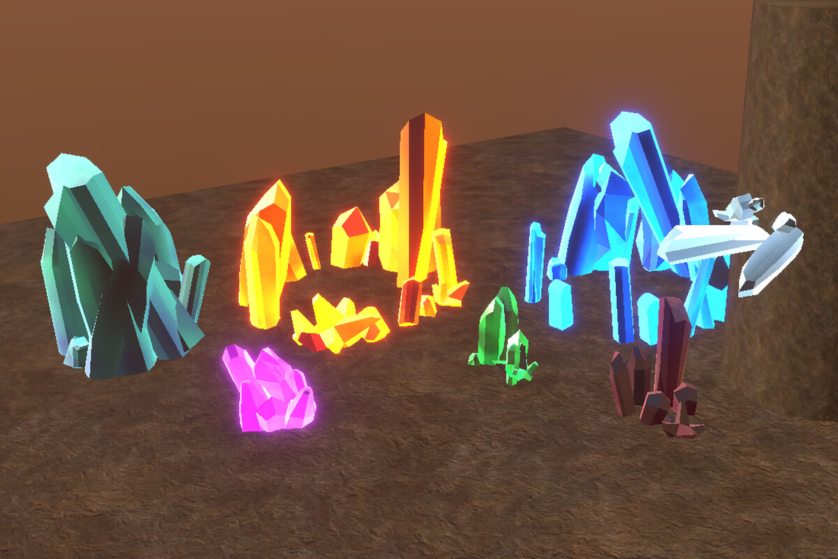 A variety of different crystals utilising different textures, colour and emissive values which are shown in the demo scene for the tool.