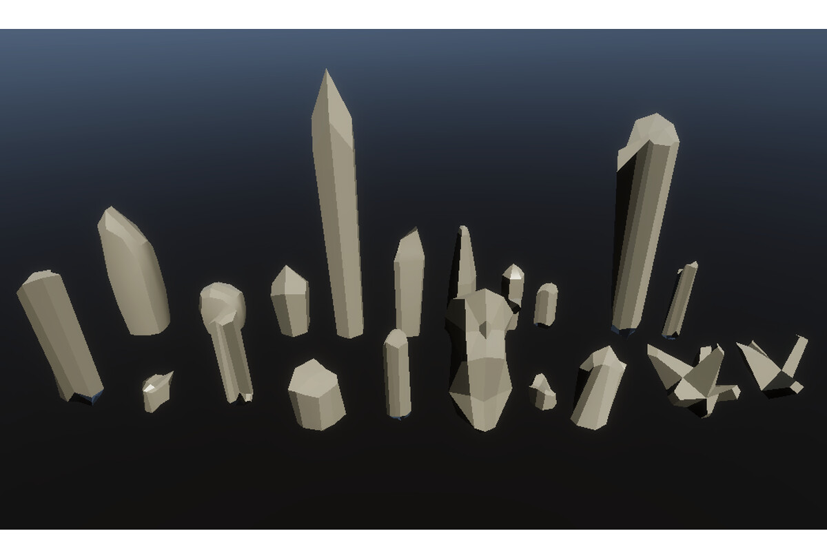 There are 20 Crystal meshes available for use within the tool with options to add more into the /Meshes/ folder. These are all clustered in a circle formation for the tool when the 'cluster generation' aspect is used.