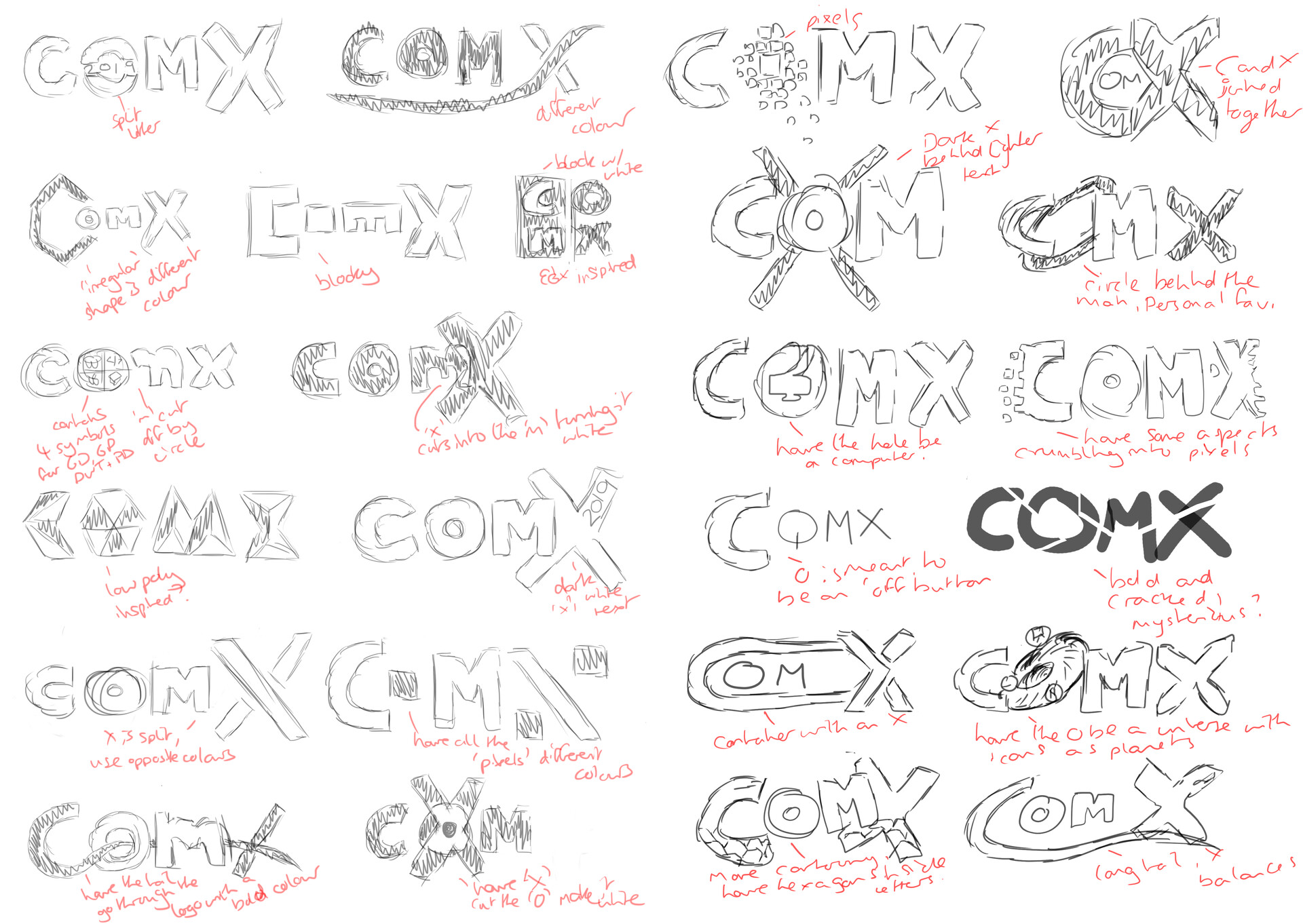 Looking into other exhibition logos and the past COMX logos, I sketched out a bunch of different designs for the client and got them to pick their favourites.