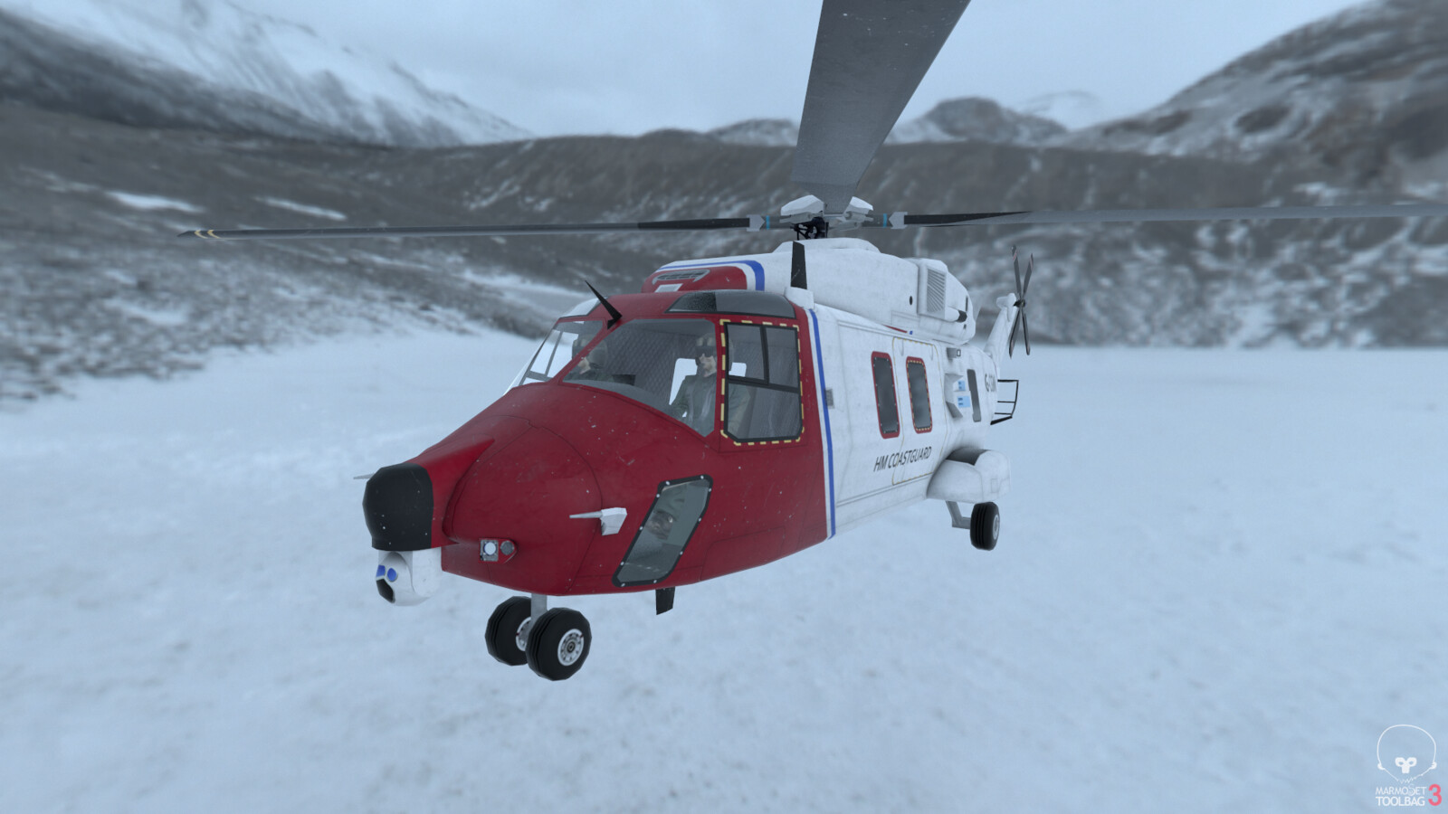 Eurocopter NH90, coastguard colours. Low-poly. Rendered in Marmoset
