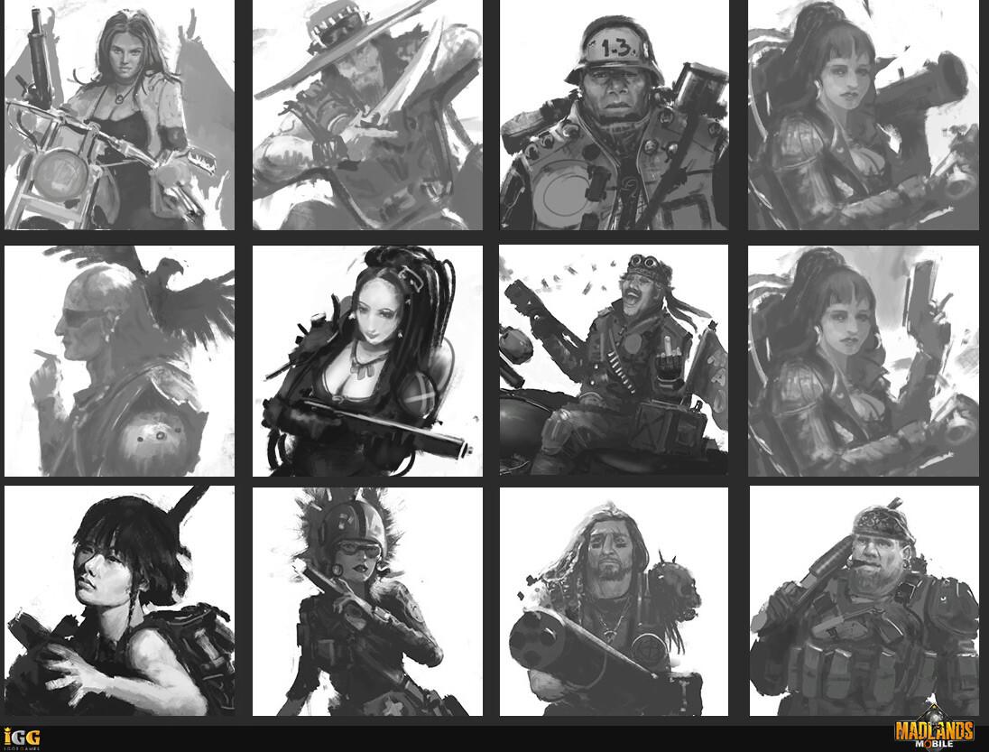 Various commander portrait thumbnail ideas.
