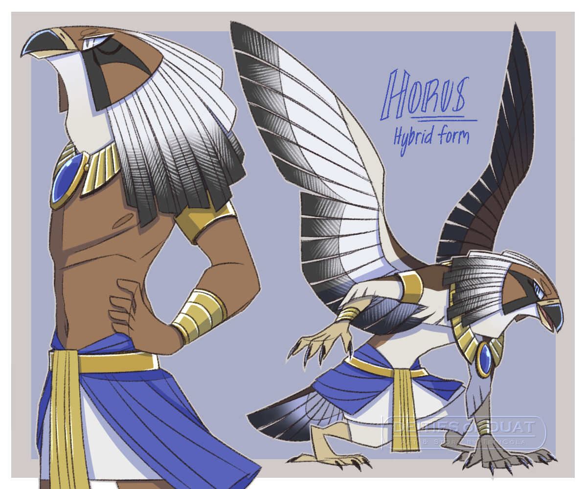 Horus, in his hybrid Falcon form.