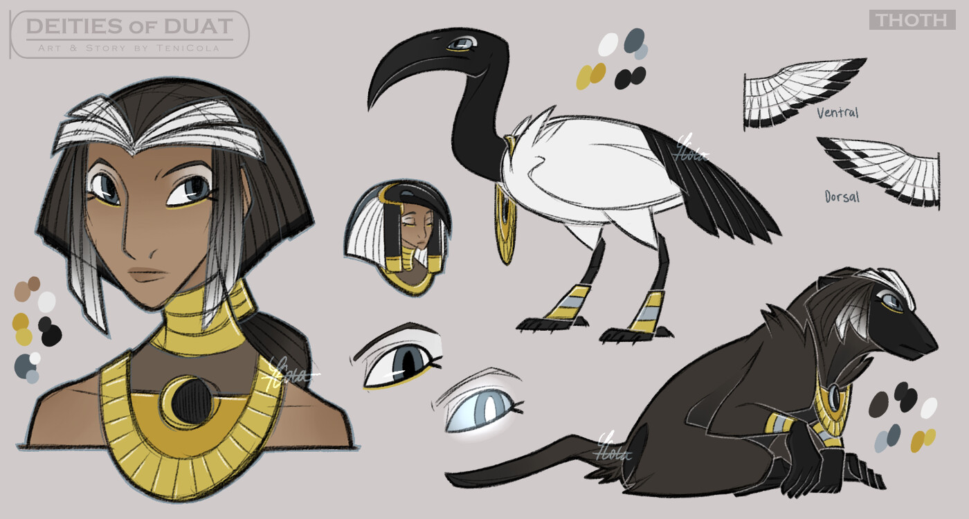 THOTH – The God of Knowledge, writing, and wisdom, and a lunar deity. His sacred animals are the Ibis and the Baboon.