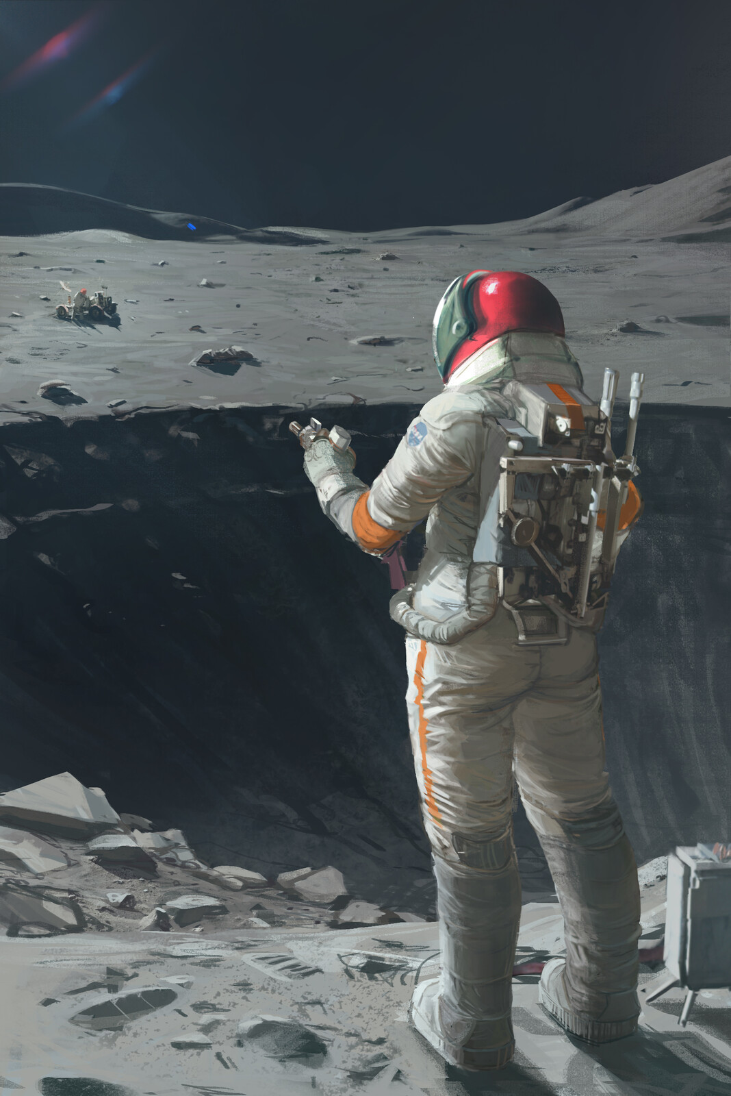 space painting in space on the moon. space.