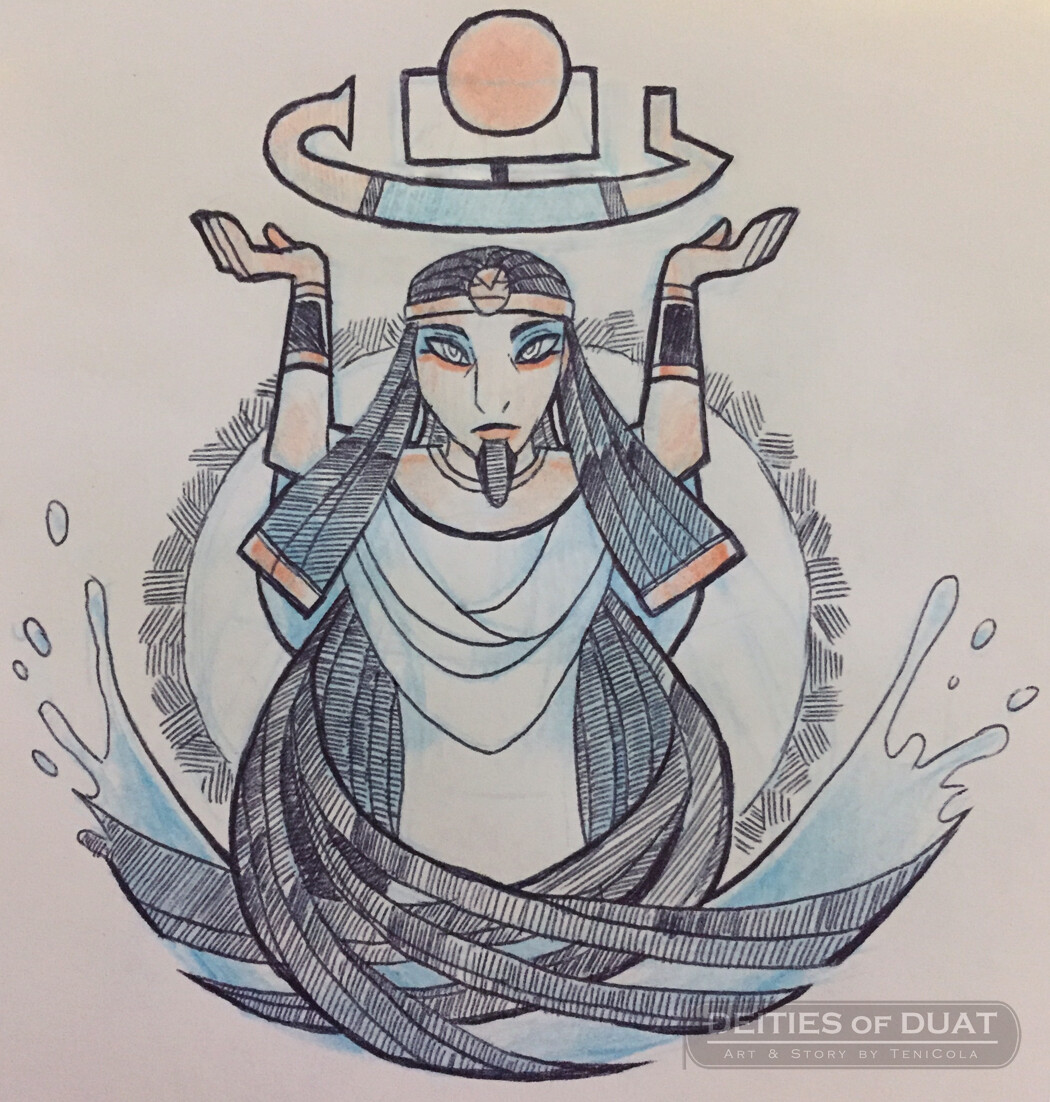 NUN / NAUNET -- The Gods of the Primordial Waters of Chaos, and part of the Ogdoad deities.
