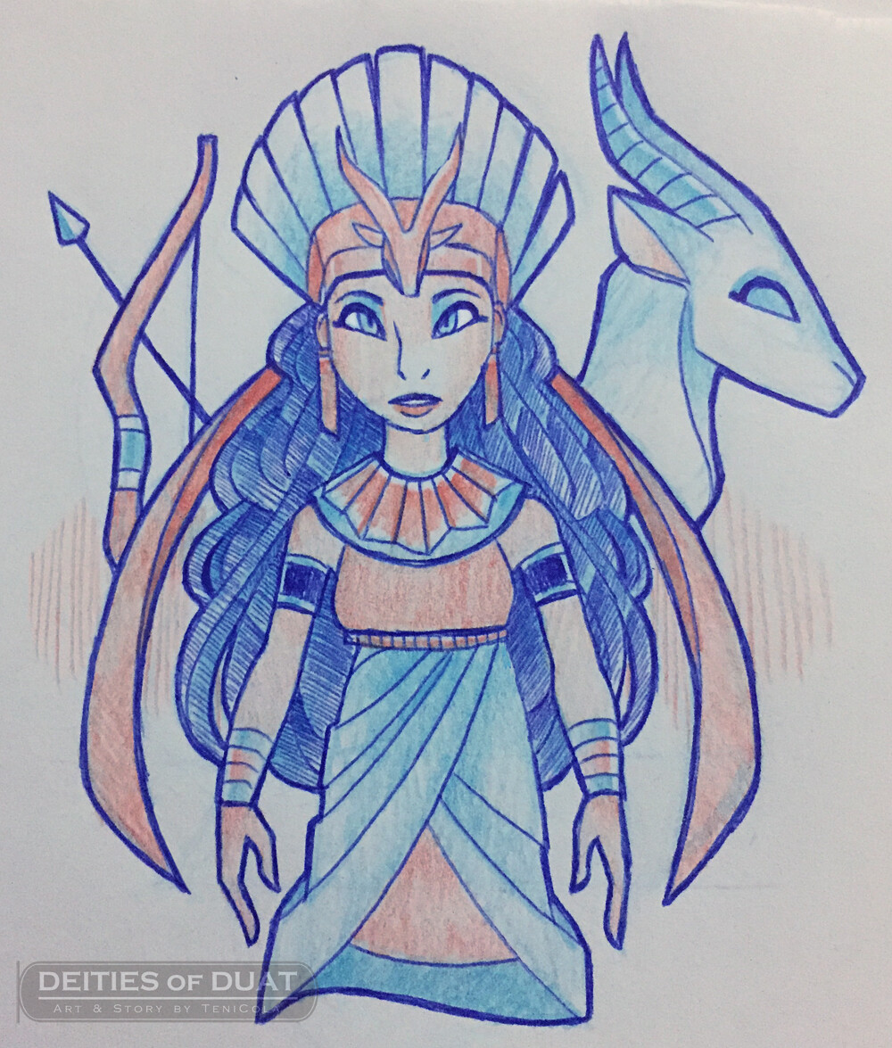 ANUKET -- The personified Goddess of the Nile River.