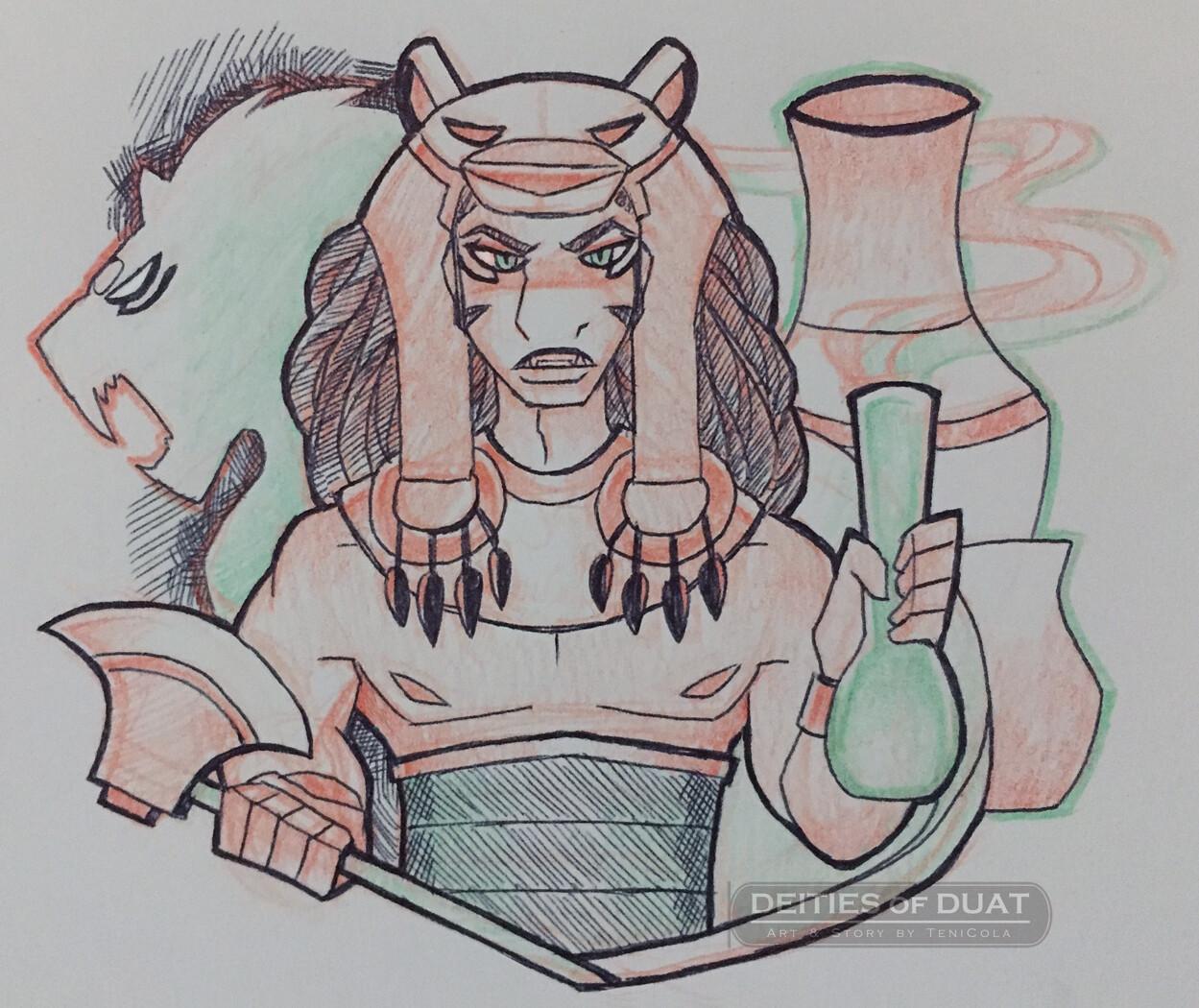 SHEZMU -- The God of Wine, perfume, and bloodshed.