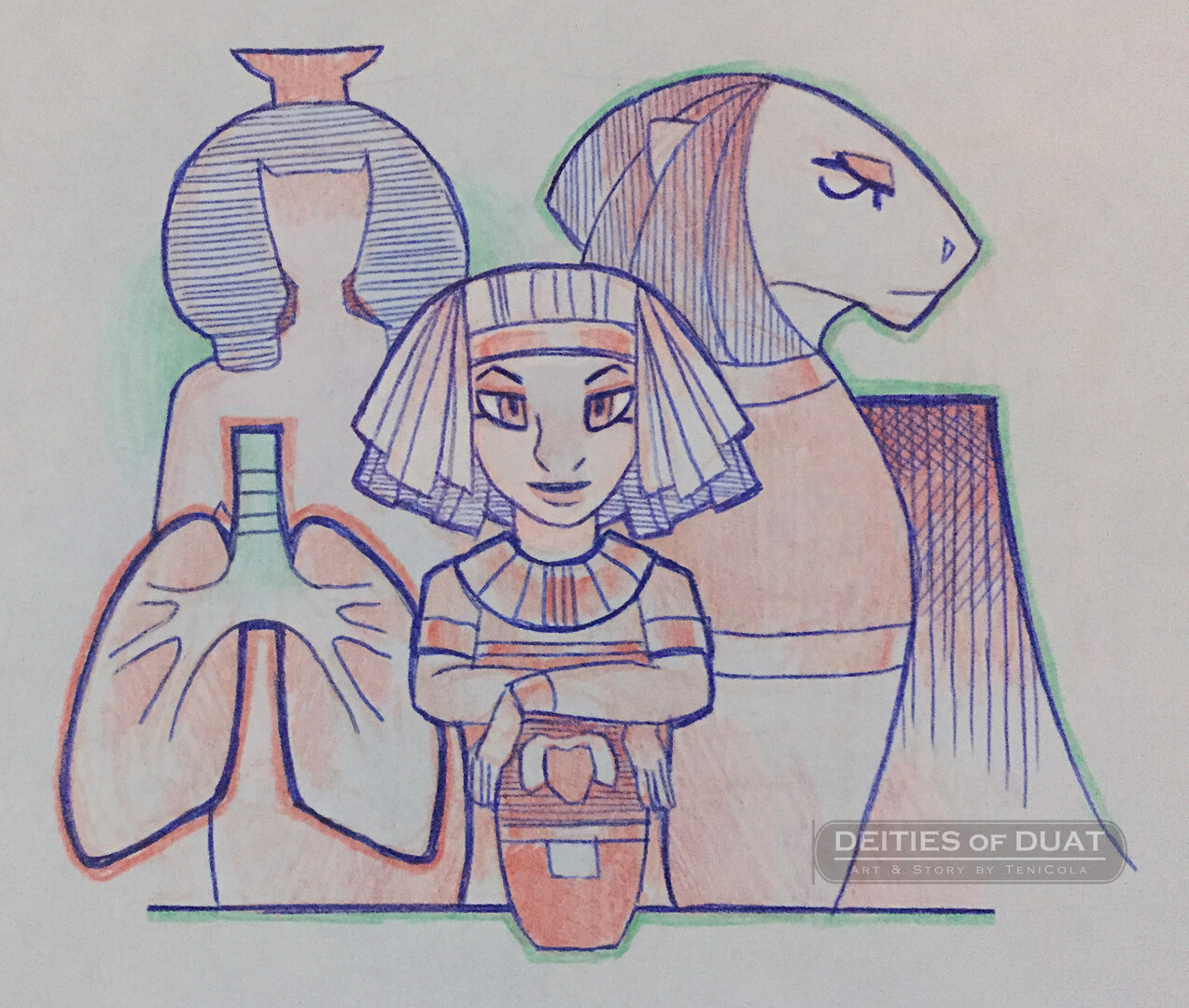 HAPY -- One of the Four Sons of Horus, who guards the lungs and represents the North.