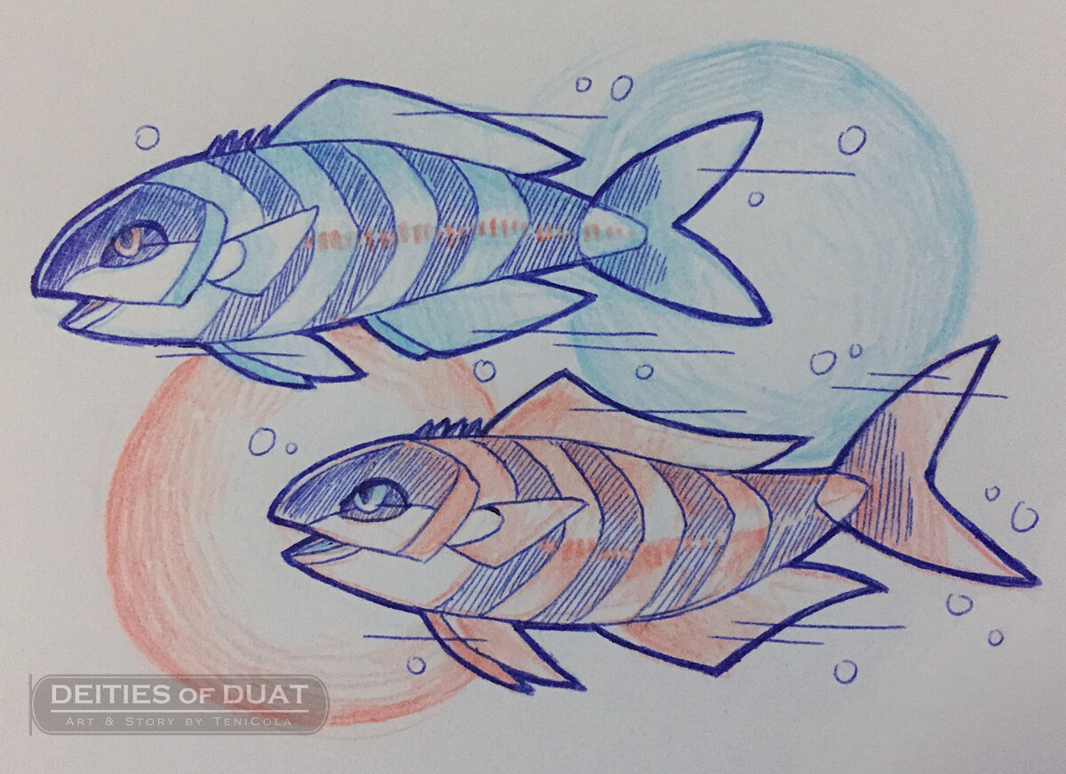 ABTU & ANT -- A pair of giant pilot fish, and divine protectors of the Solar Barque.