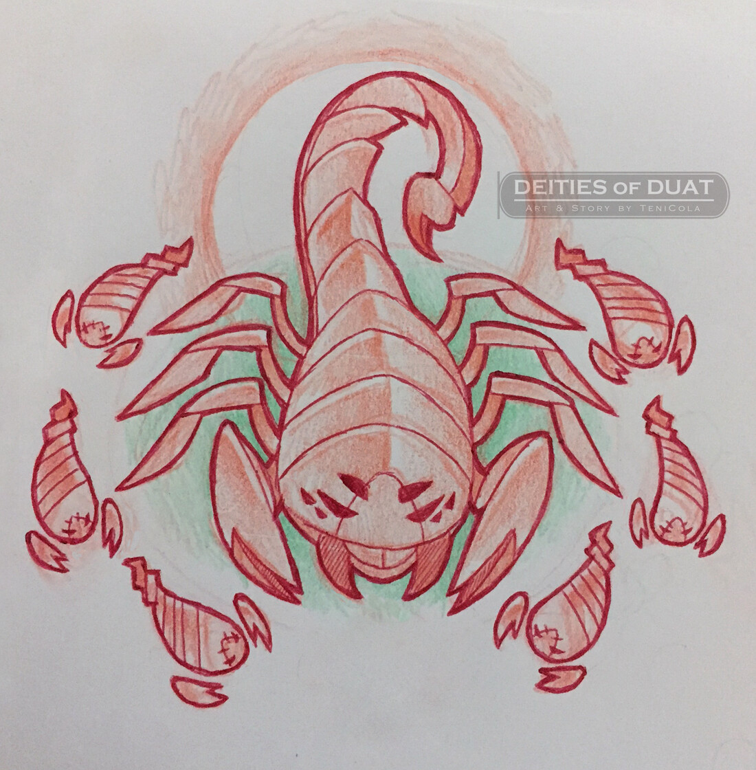 THE SEVEN SCORPIONS – Large demon scorpions who were the Guardians of Isis. The scorpions are all regarded as female and were named: Petet, Tjetet, Matet, Mesetet, Masetetef, Befen, & the largest leader, Tefen.