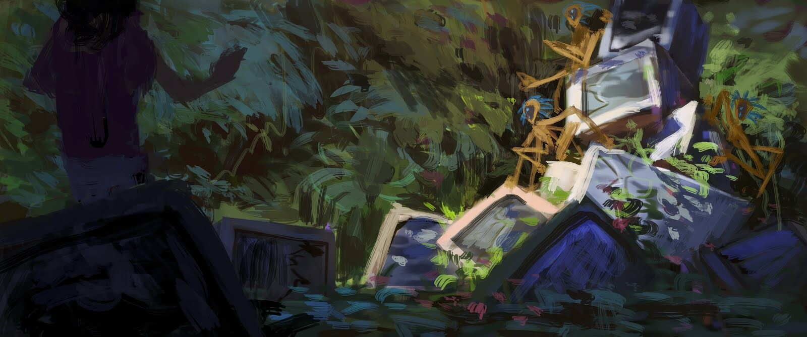 Initial rough sketch, done more to capture the overall mood and tone.