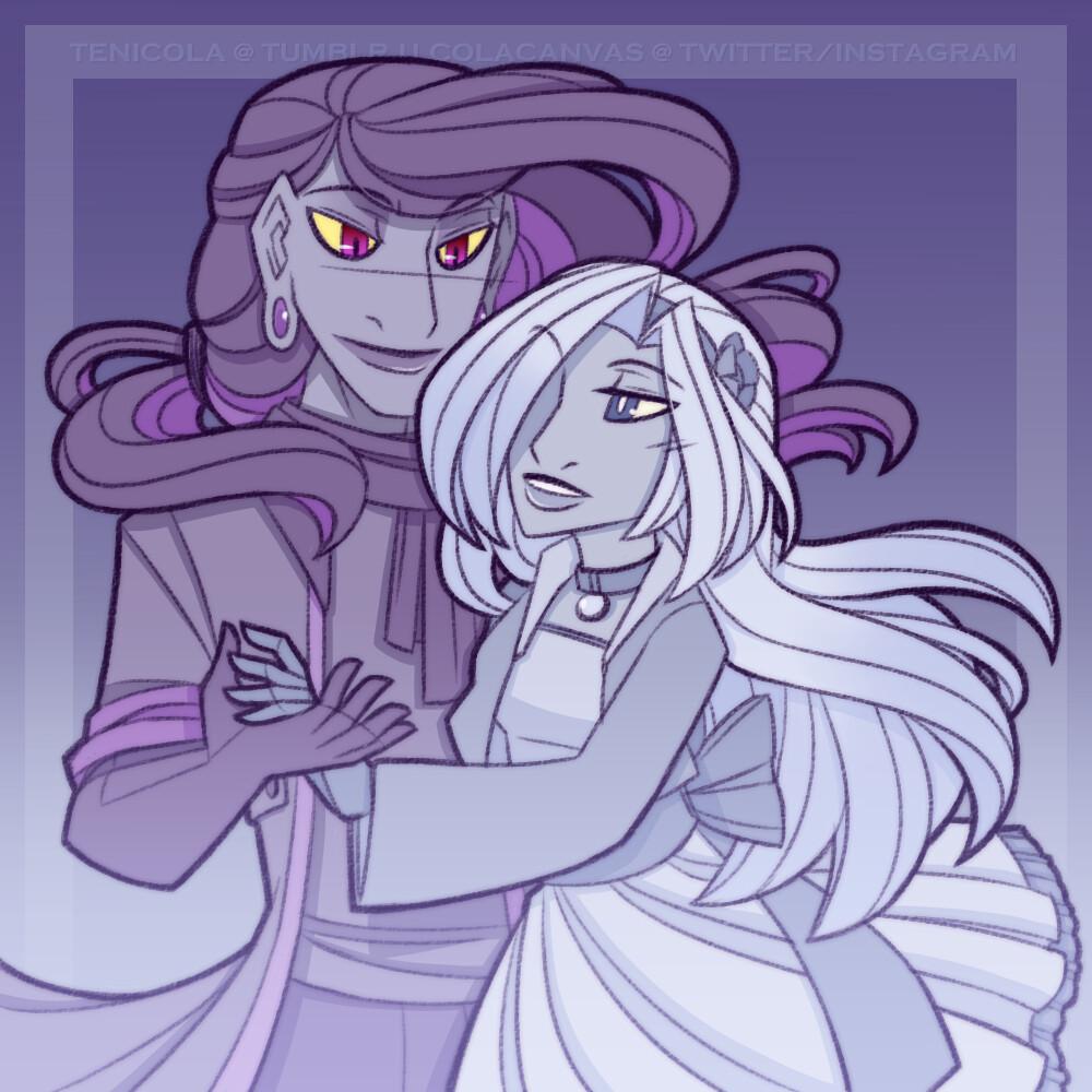 Morgue (Mismagius) and Crystal (Froslass)
