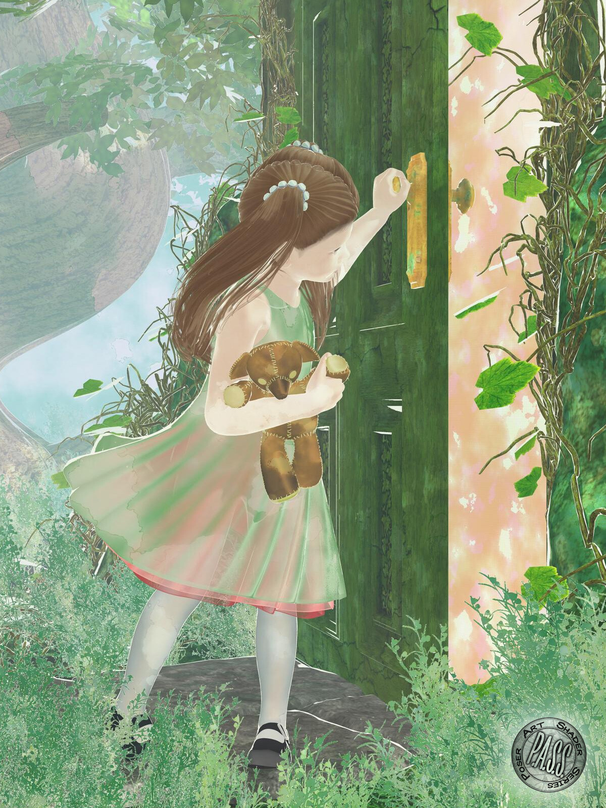 An example of fabric, foliage, skin, and hair shaders, and the depth cue backgrounds.