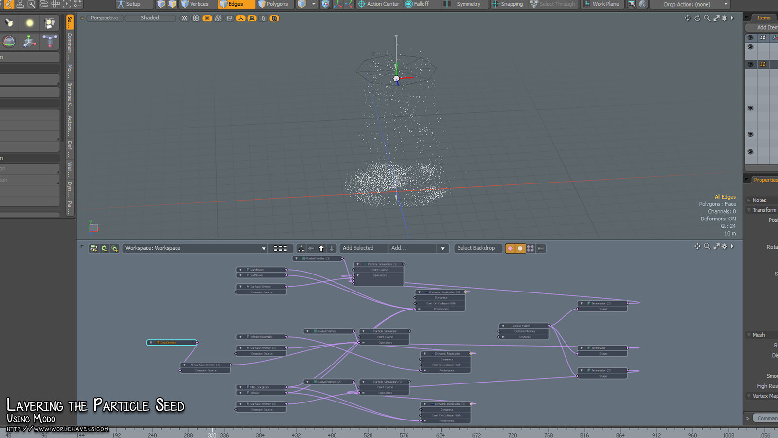 A screencapture of one of the particle systems from Modo that was used to generate the seed for the initial texture maps.