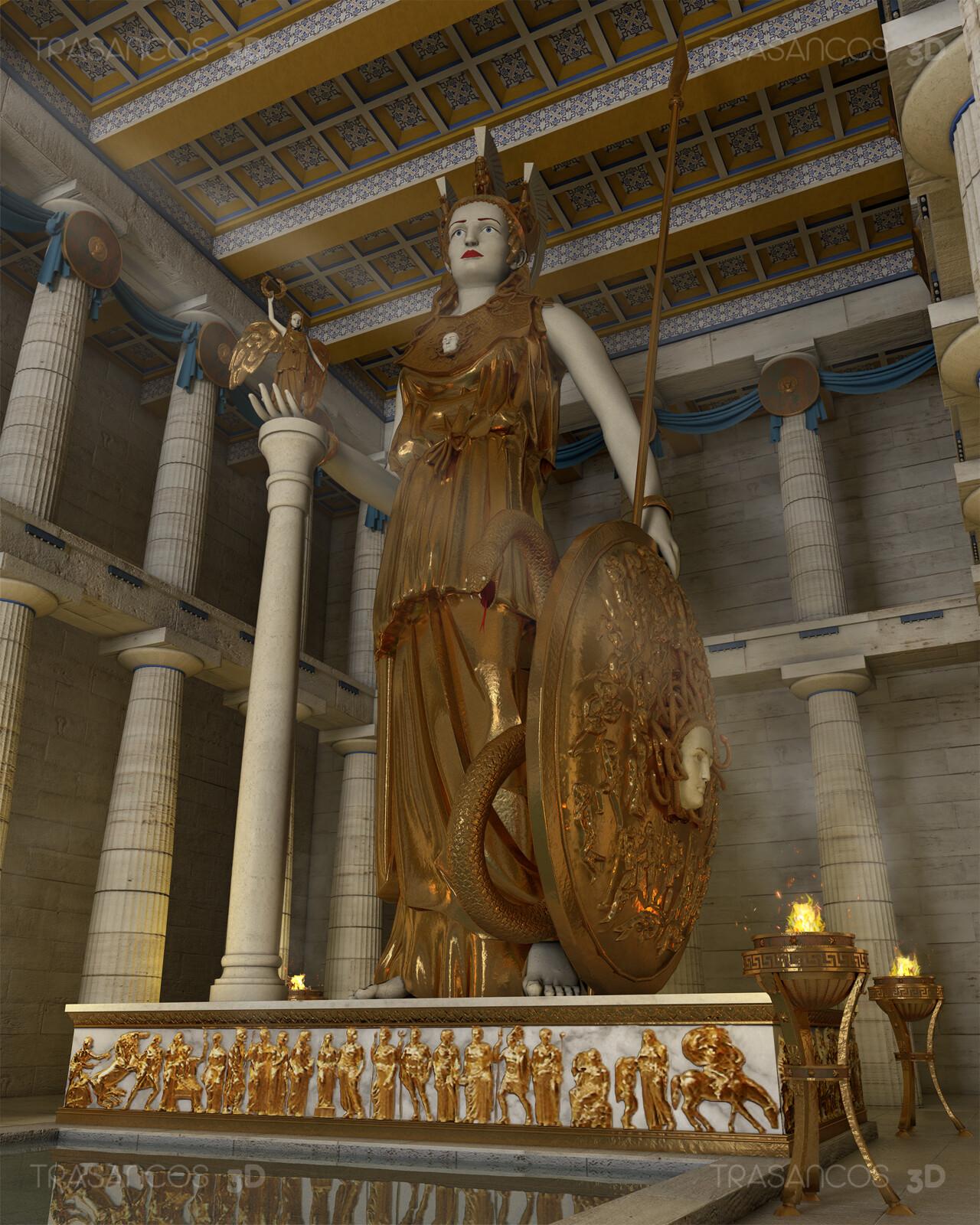 Athena Parthenos statue in the Parthenon of Athens. Final ilustration.