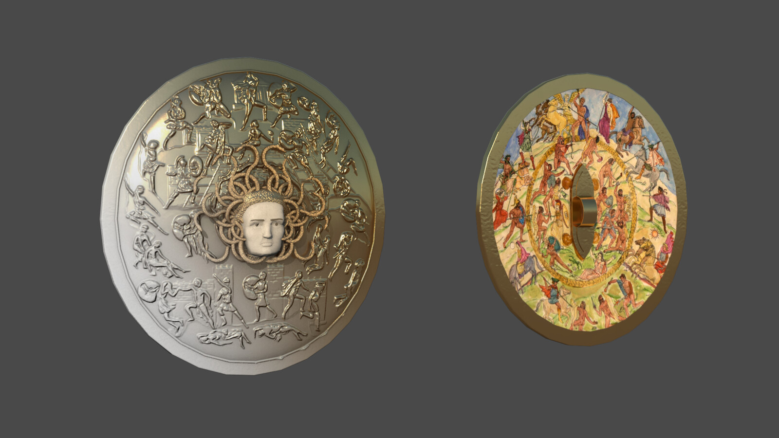 Detail of the Athena's shield. For the interior paitings, we used the reconstruction of Alan LeQuire.