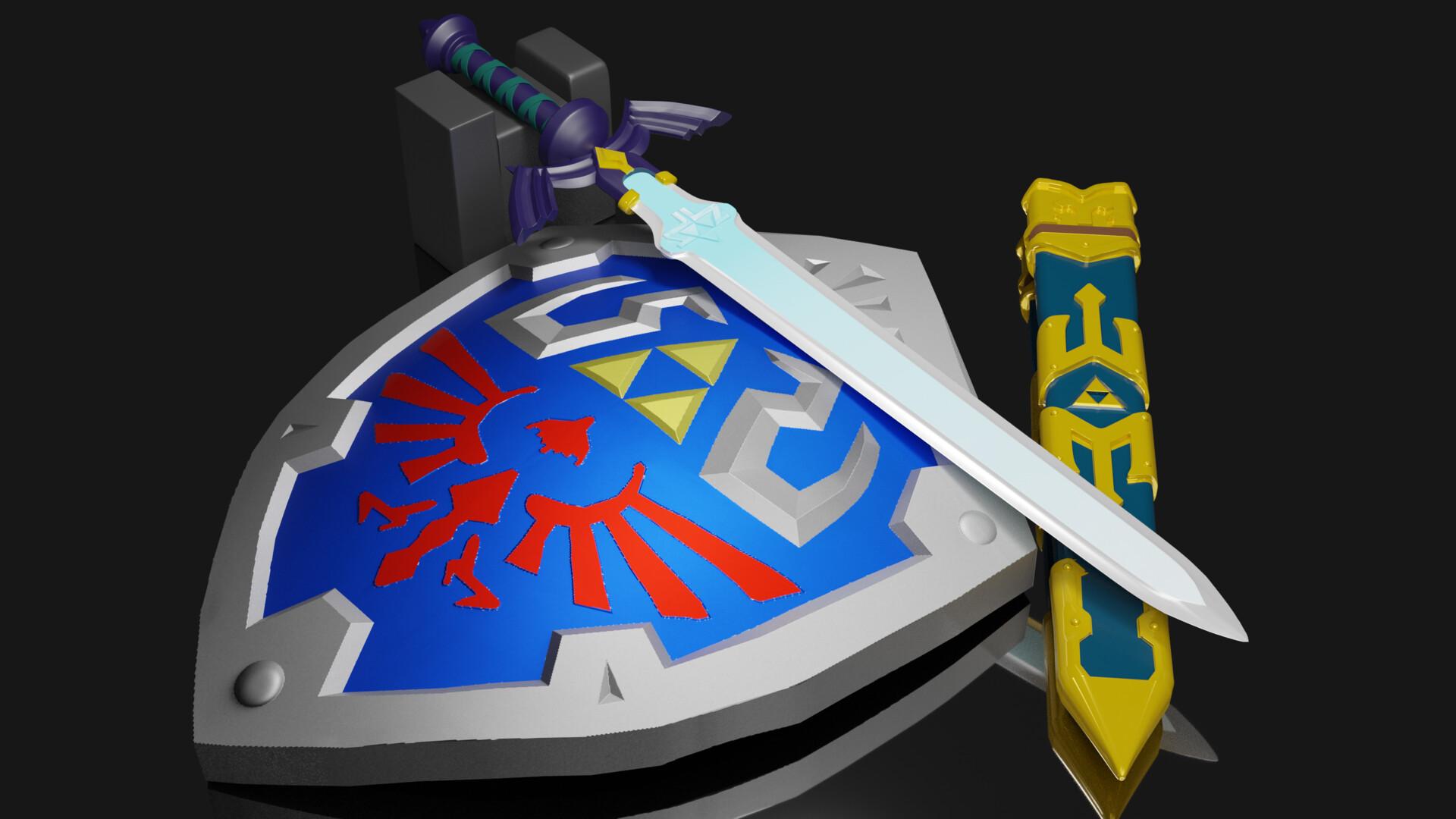 Artstation Legend Of Zelda Master Sword And Hylian Shield