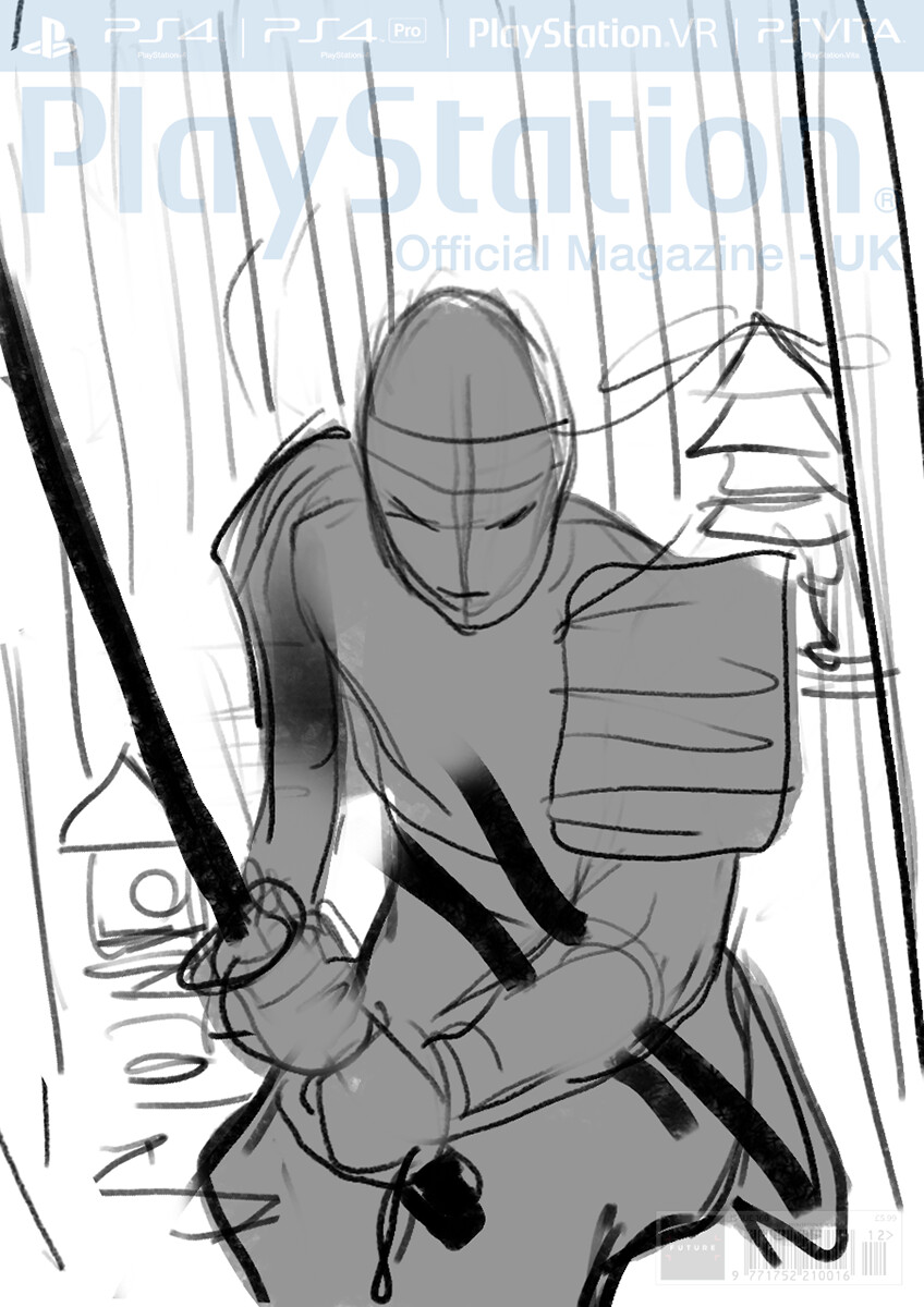 Sketch (sword grip changed to accommodate logos)