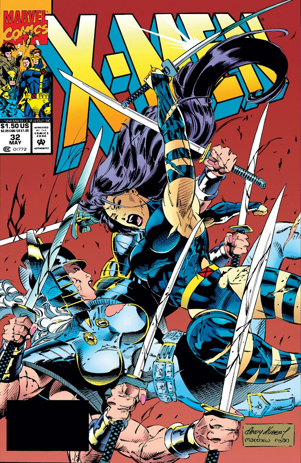 X-Men #32 cover by Andy Kubert
