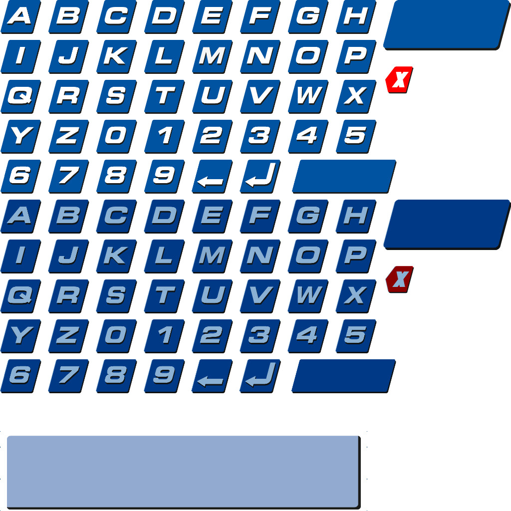 Ingame sprite sheet for font